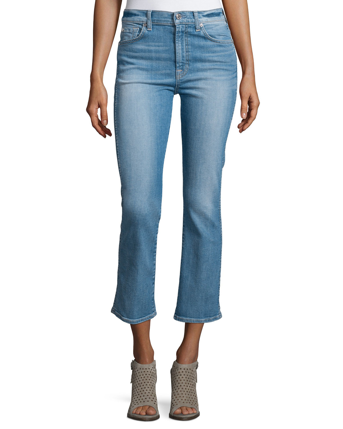 7 for all mankind Mid-rise Boot-cut Cropped Jeans in Blue | Lyst