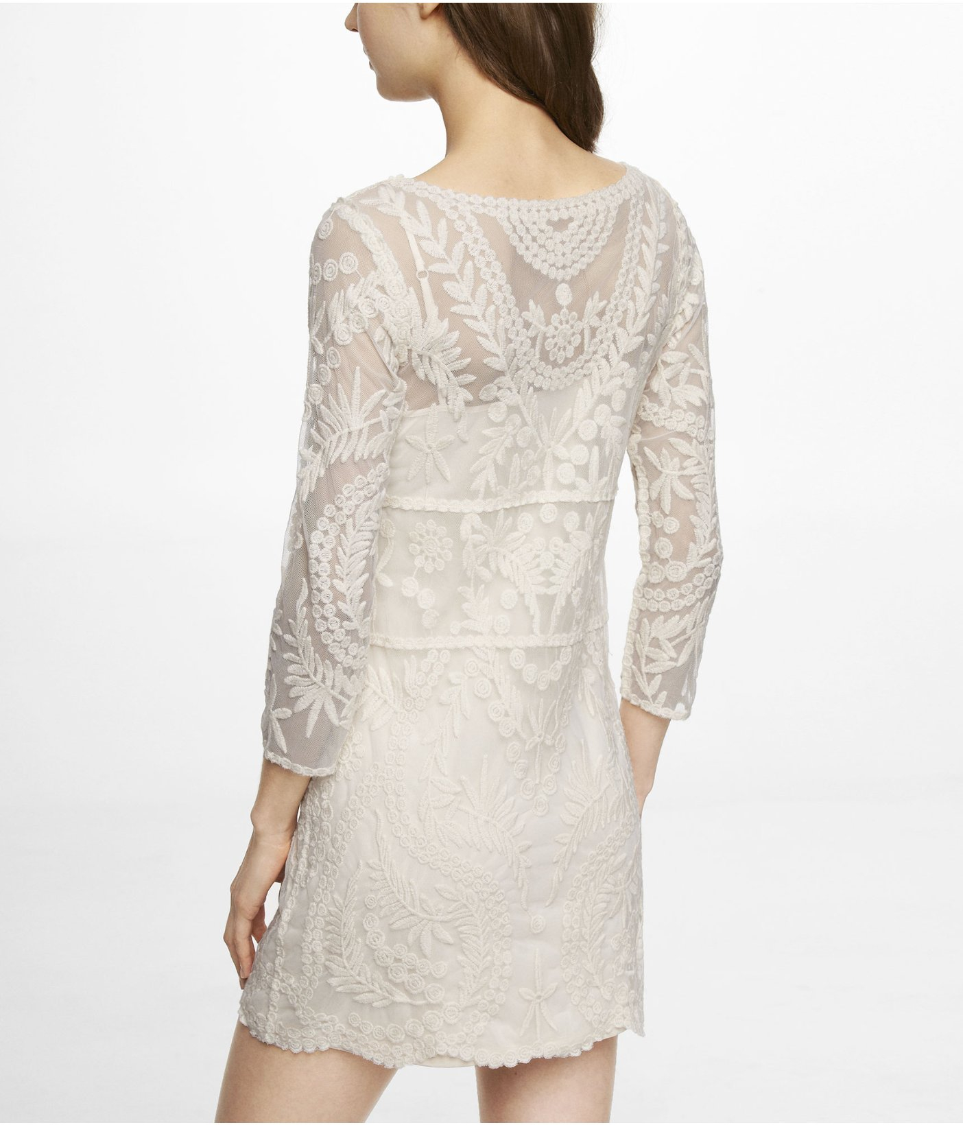 3d6e557ddb Lyst - Express Embroidered Lace Shift Dress in Natural