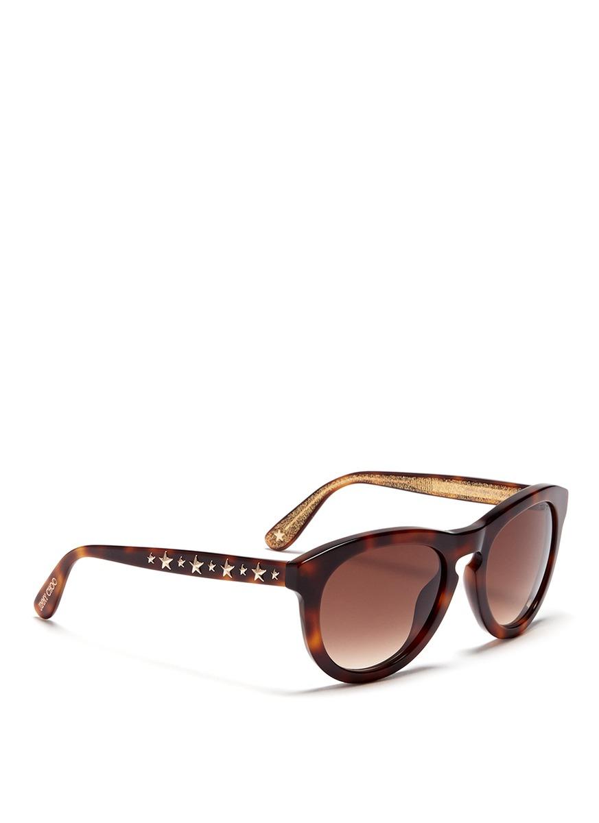be669b449a98 Lyst - Jimmy Choo Hero Star Stud Tortoiseshell Sunglasses in Brown
