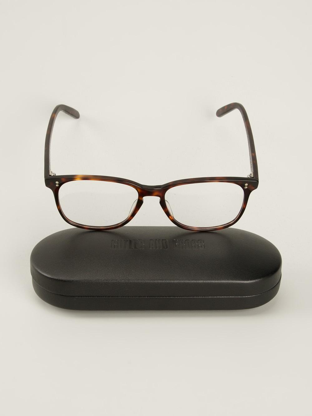 cutler gross wayfarer frame glasses in brown for lyst