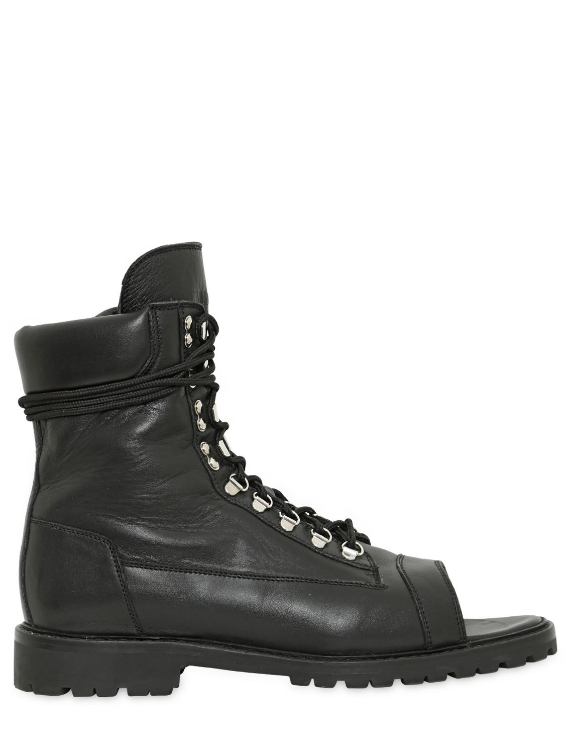 Lyst Balmain Open Toe Leather Combat Boots In Black