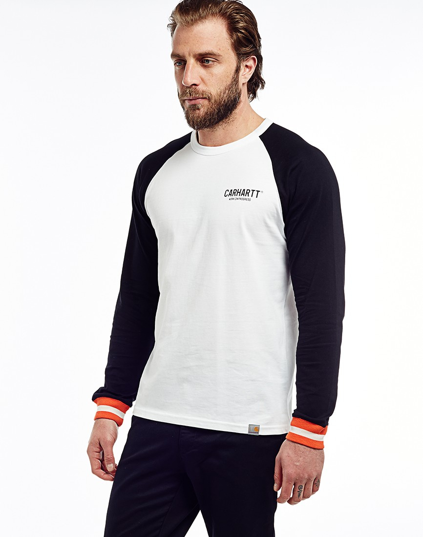 Carhartt wip carhartt long sleeve riley t shirt in white for Carhartt long sleeve t shirts white