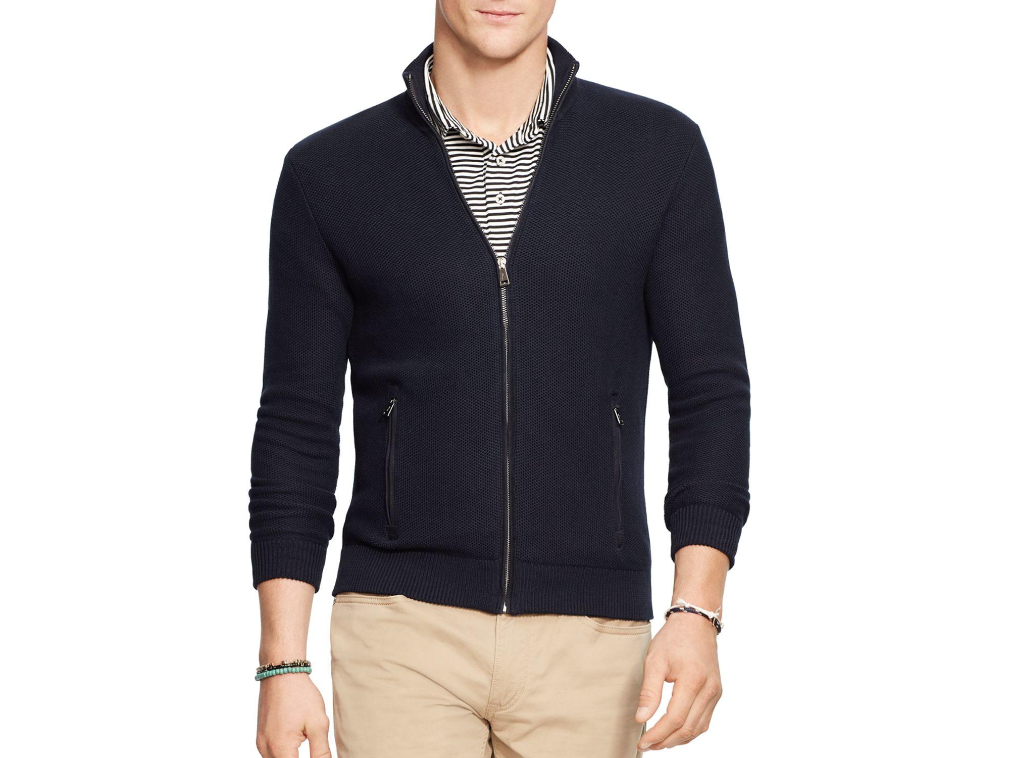 398cdad94 Polo Ralph Lauren Pima Cotton Full Zip Sweater in Black for Men - Lyst