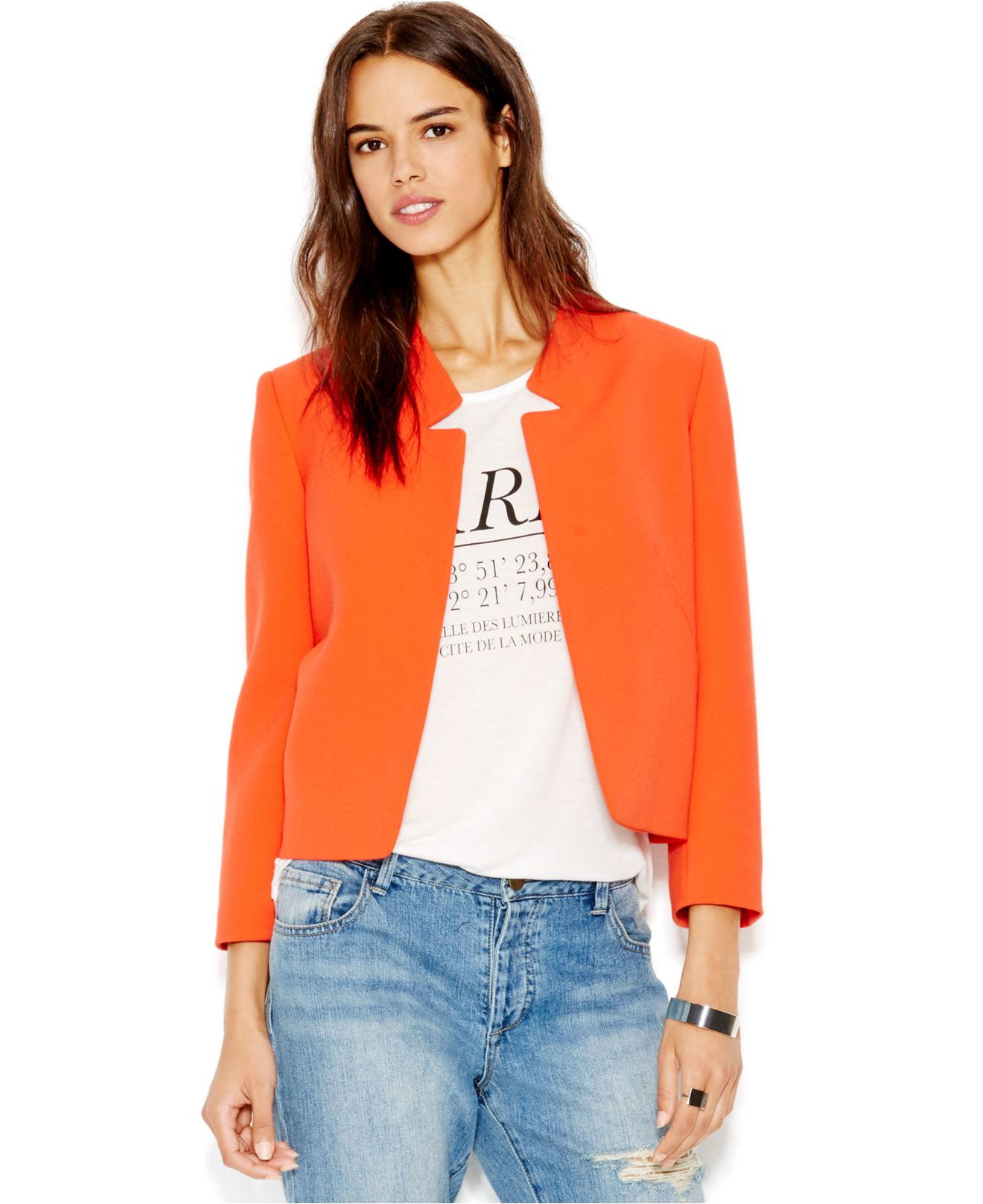 c03cf4b505f7c RACHEL Rachel Roy Long-sleeve Collarless Blazer in Red - Lyst