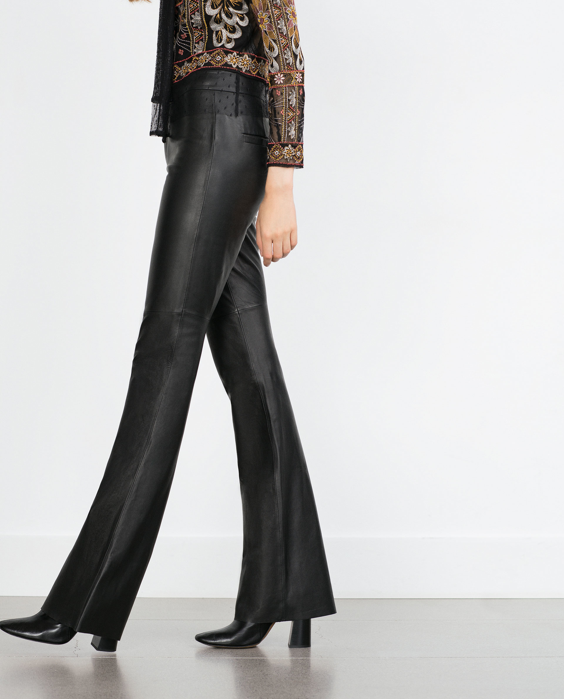 Amazing  Look With The Latest PreFall 2017 Womens Pants At ZARA Online Frilly, Printed, Striped, Wide Leg, Flare &amp High Waisted Pants For Women Biker Trousers Biker Trousers In Imitation Leather With Decorative Zips At The Front, A Regular Waist,
