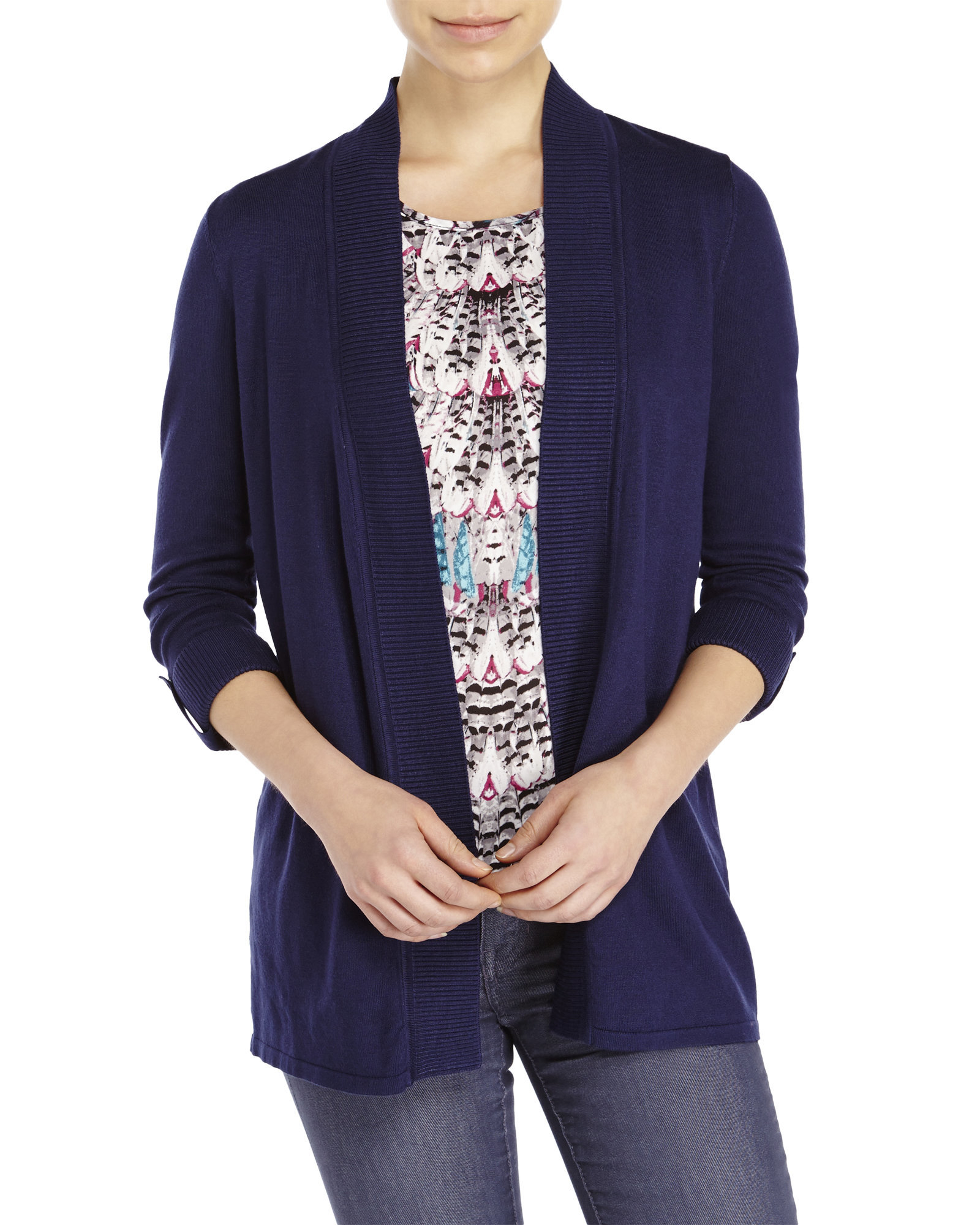 Premise studio Tab-Sleeve Open Cardigan in Blue | Lyst