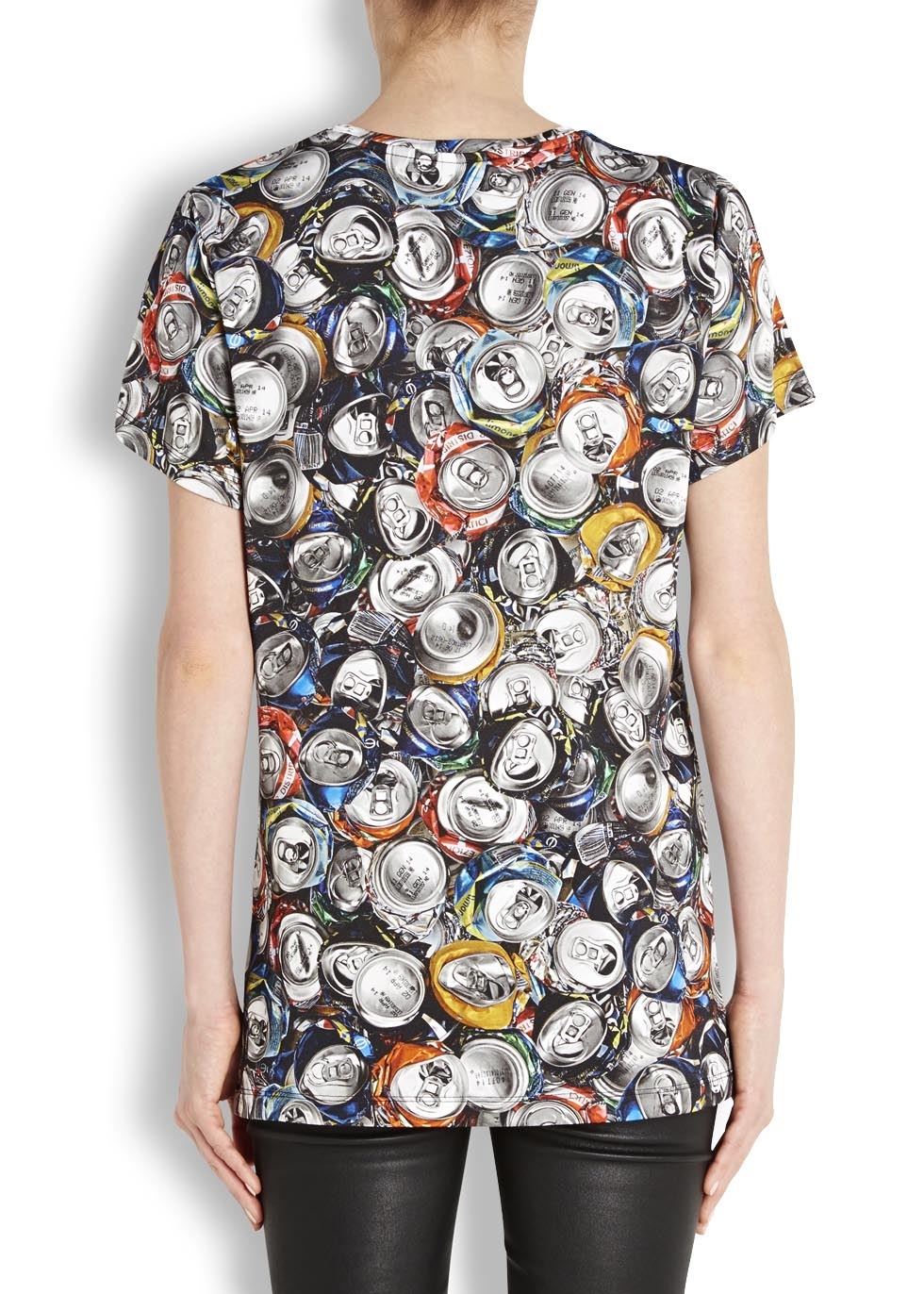 Moschino can print t shirt in gray lyst for Where can i print t shirts