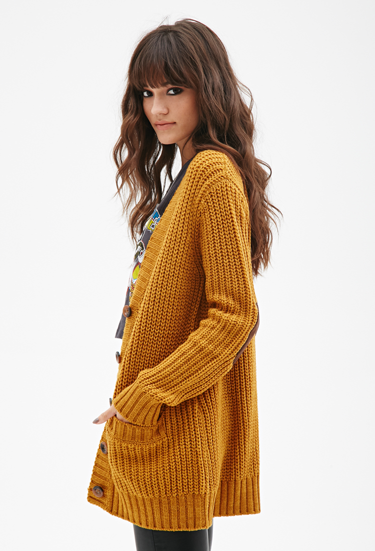 28cf63e14 Forever 21 Chunky Knit V-neck Cardigan in Yellow - Lyst