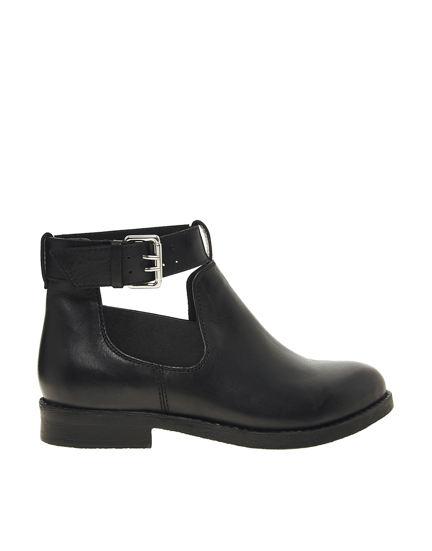 d73828bb5cb ASOS Ascot Leather Cut Out Ankle Boots in Black - Lyst