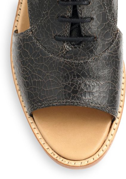 Marc By Marc Jacobs Crackled Leather Opentoe Oxfords In