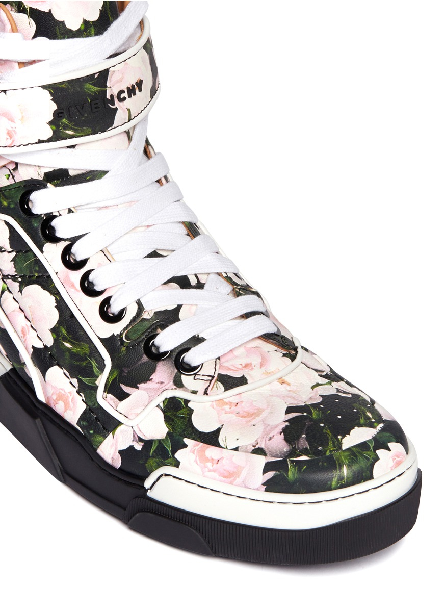 0ba21de54371 Lyst - Givenchy Tyson Floral Print Leather High-top Sneakers for Men