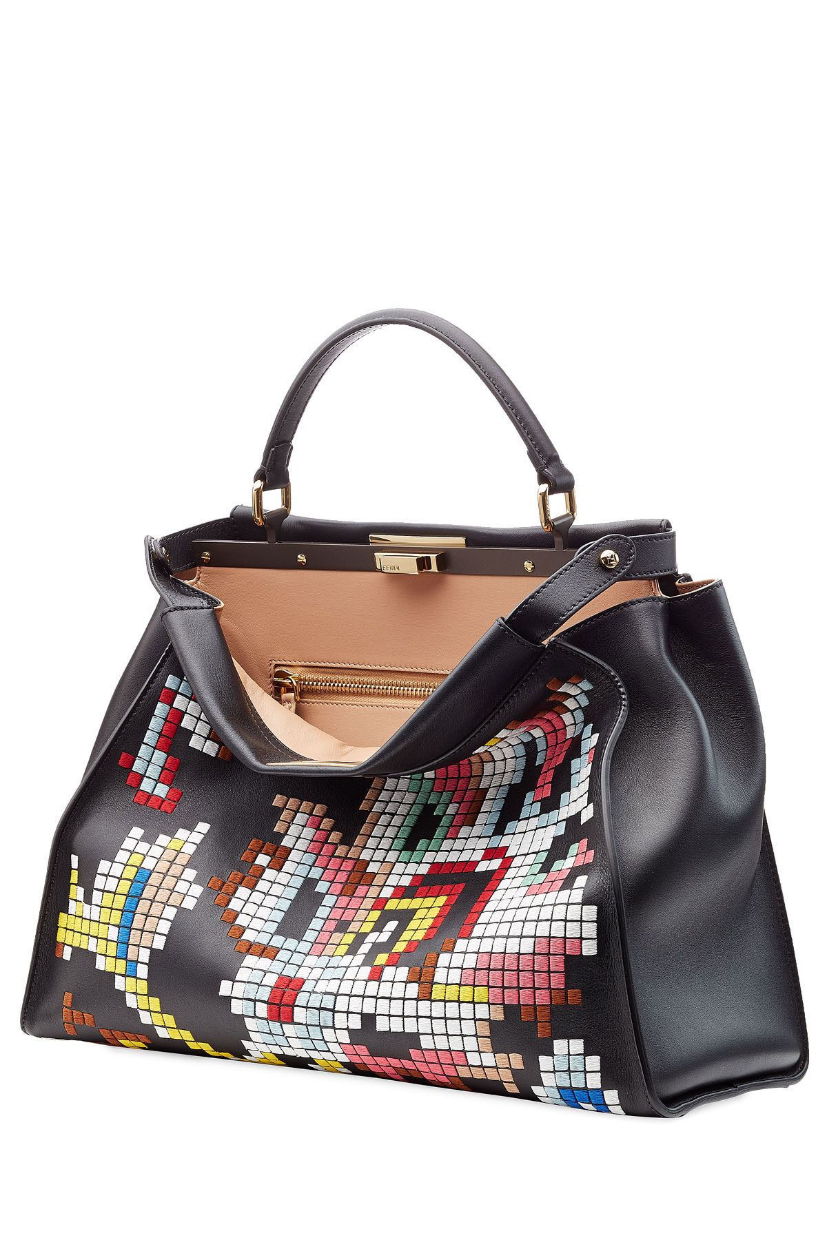 19aa134ebe9 Fendi Embroidered Peek-A-Boo Large Leather Tote in Black - Lyst