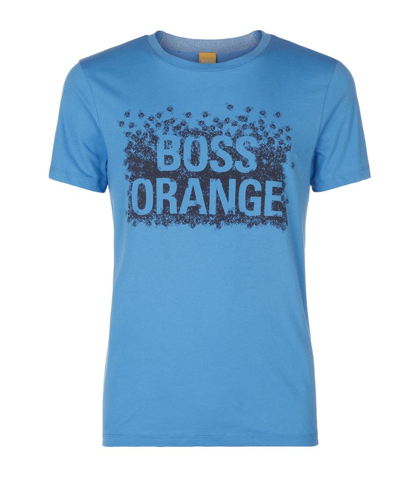boss orange logo t shirt in blue for men lyst. Black Bedroom Furniture Sets. Home Design Ideas