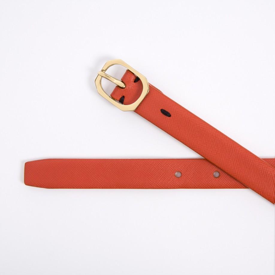 Paul smith Women\u0026#39;s Burnt Orange Saffiano Leather Belt in Orange | Lyst
