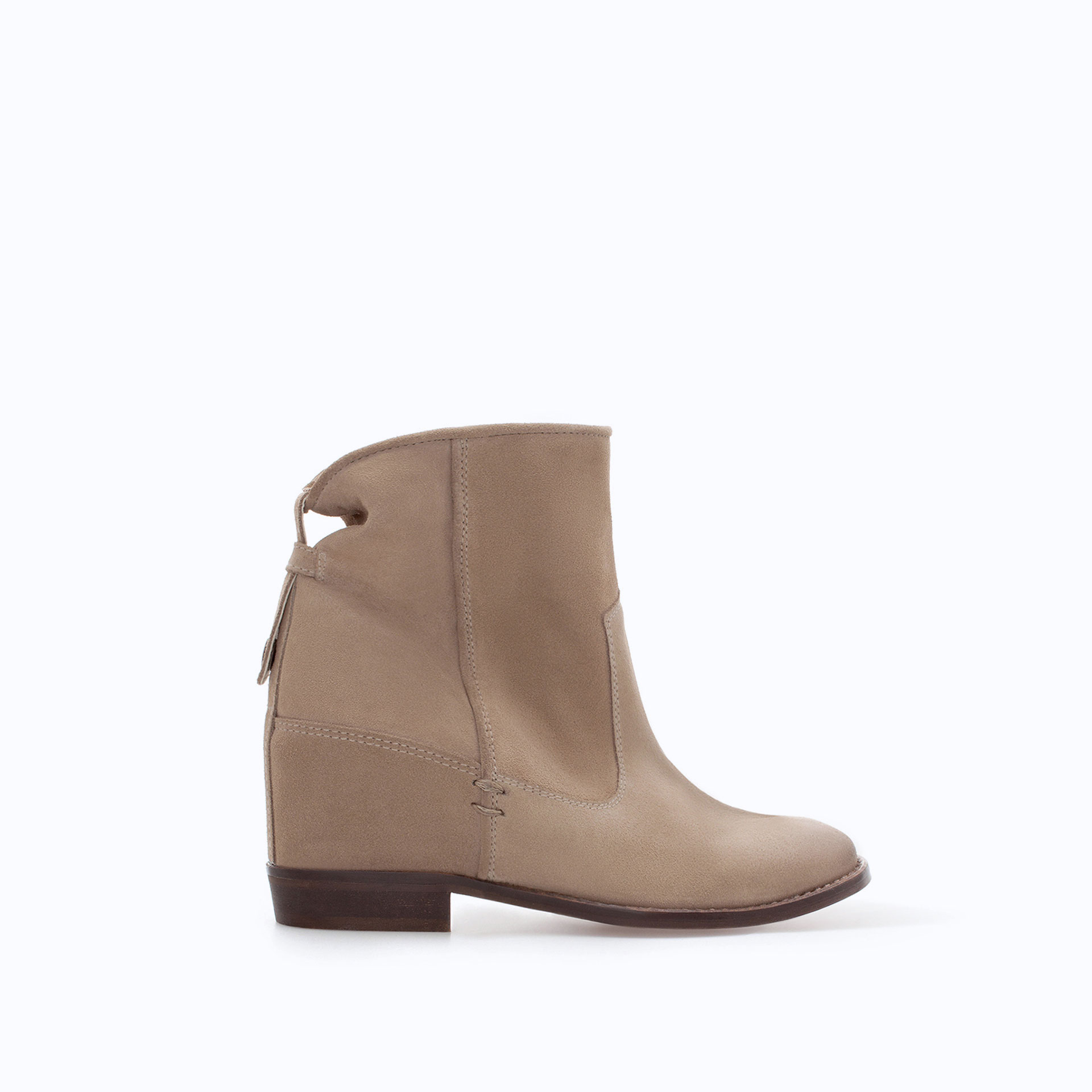 zara leather ankle boot with interior wedge in lyst