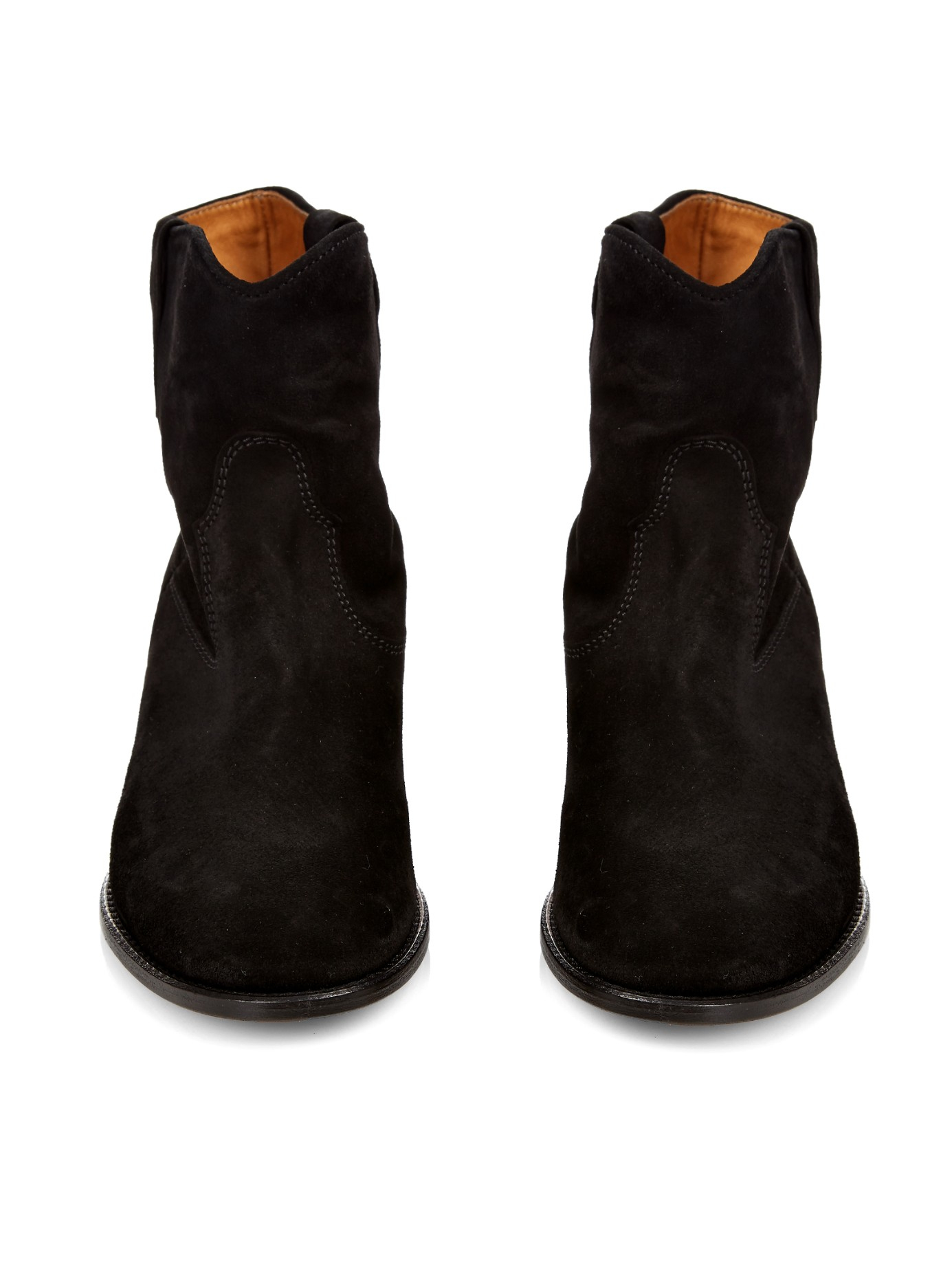 isabel marant crisi suede ankle boots in black lyst. Black Bedroom Furniture Sets. Home Design Ideas