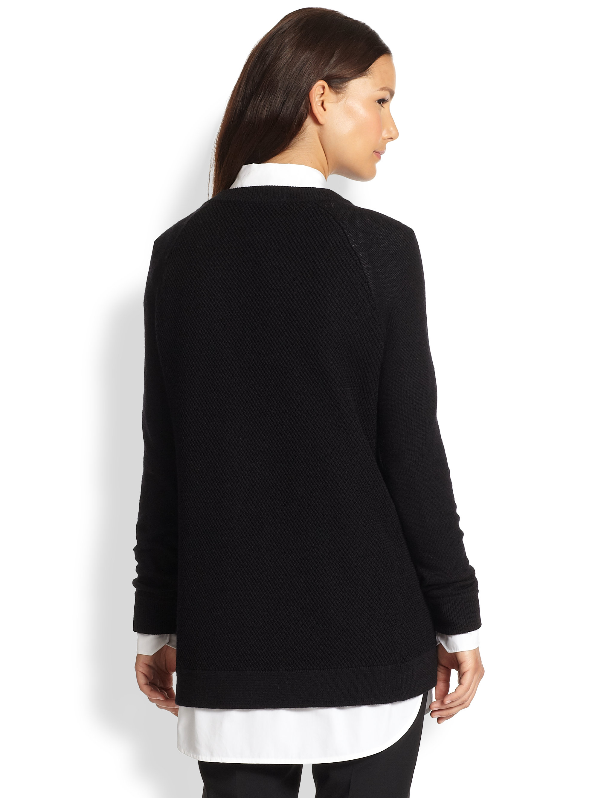Lyst Vince Leather Trimmed Zip Sweater In Black