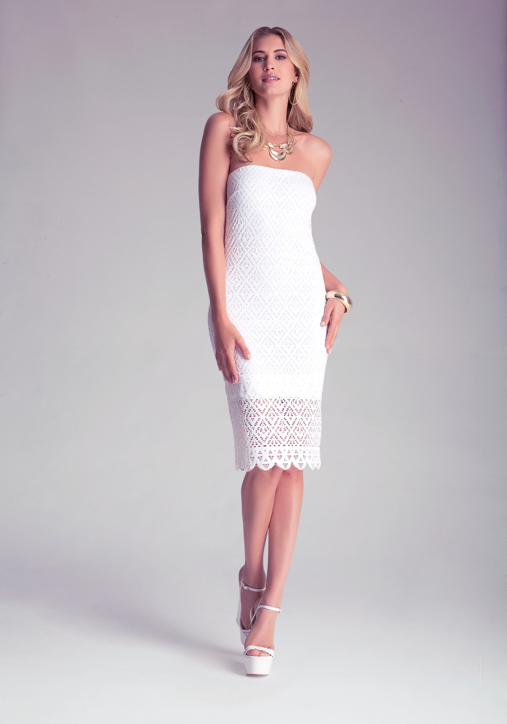 5a3dc1f32b5b Lyst - Bebe Strapless Susie Midi Dress in White