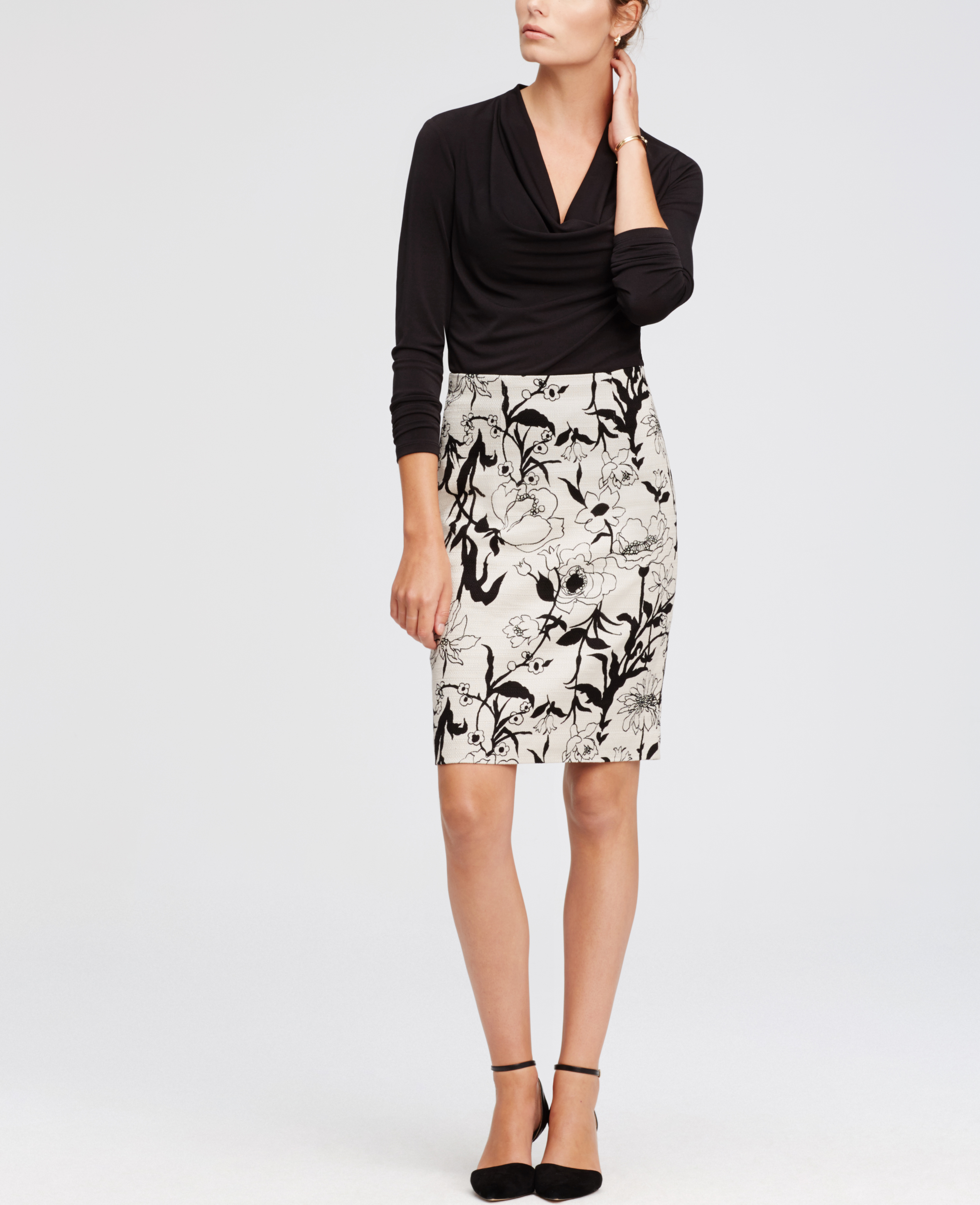 black and white floral pencil skirt dress