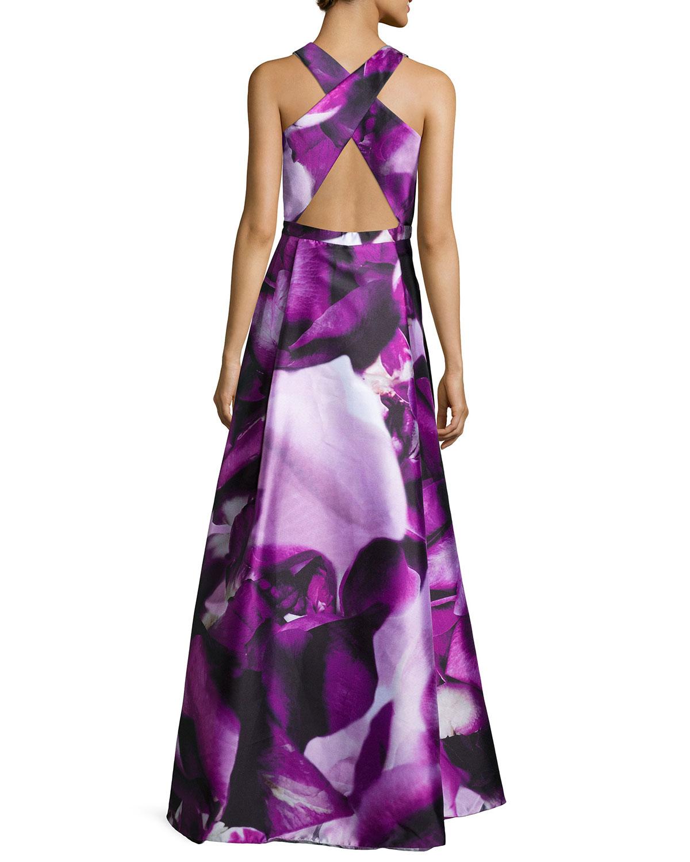Lyst Ml Monique Lhuillier Sleeveless Floral Print Ball