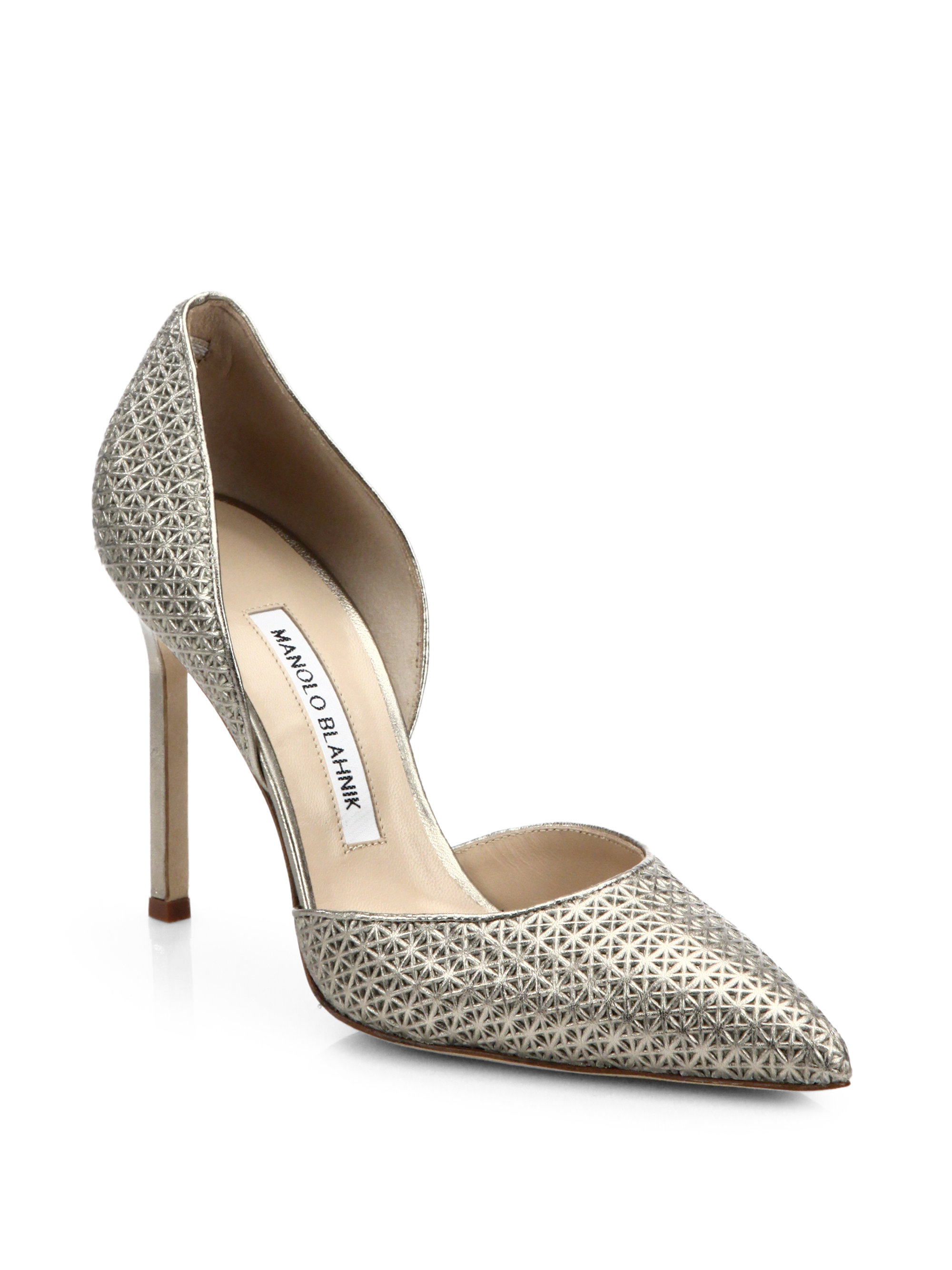 Lyst manolo blahnik star stamped metallic leather d for Who is manolo blahnik