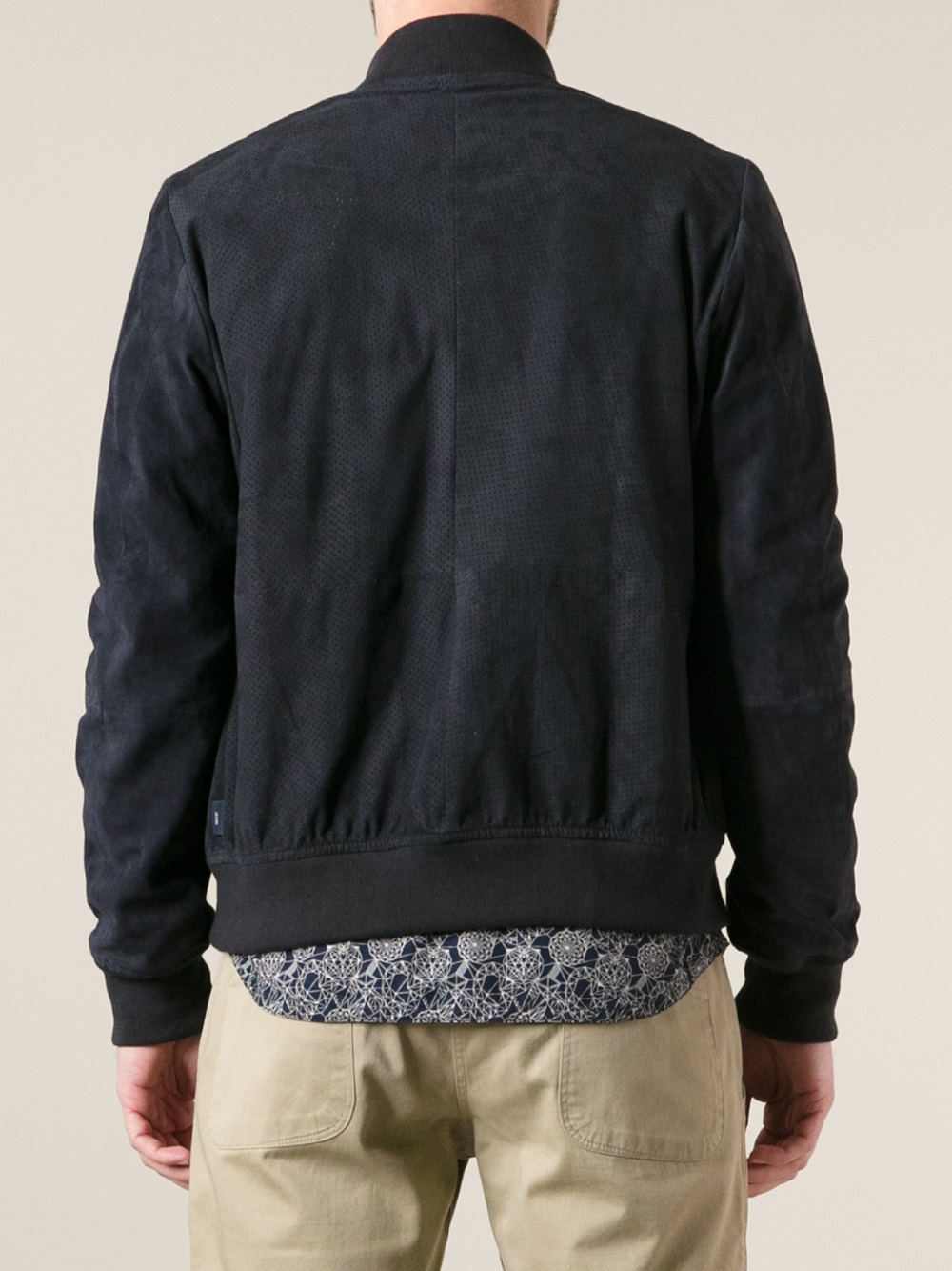 Lyst Paul Smith Perforated Suede Bomber Jacket In Blue
