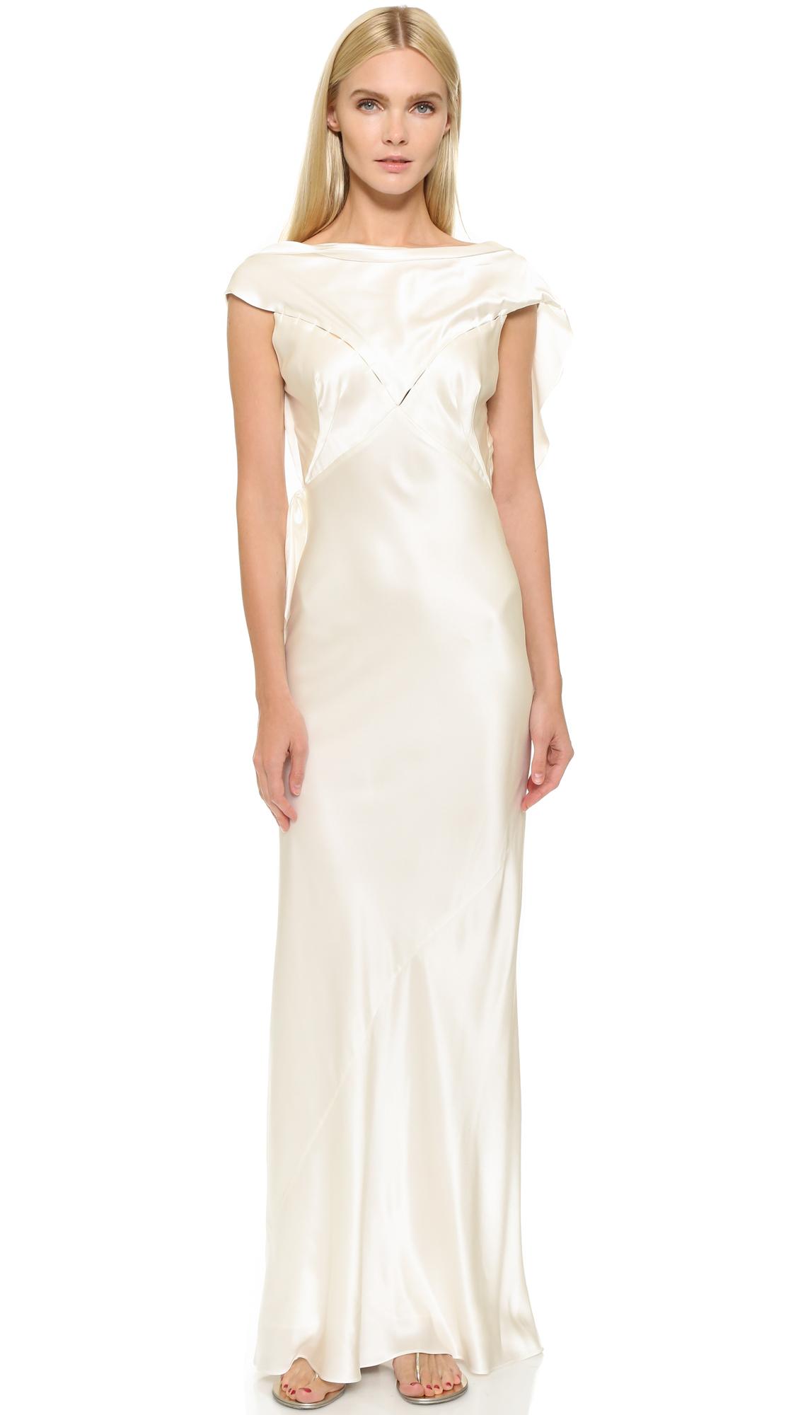Lyst - Zac Posen Silk Gown in White