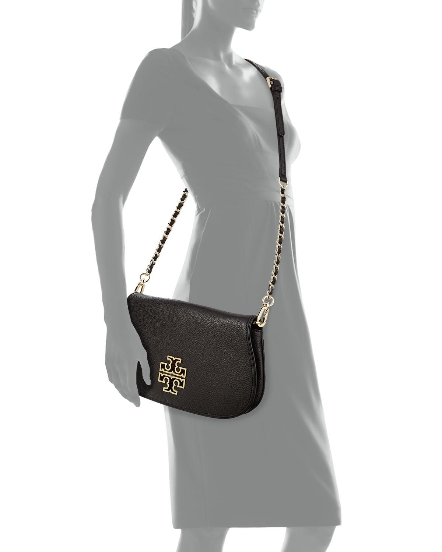 90879db88080 Lyst - Tory Burch Britten Leather Flap Clutch Bag in Black