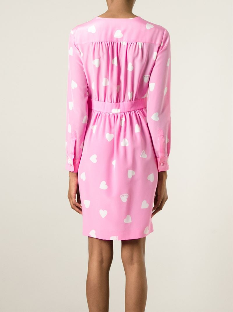 lyst moschino heart print dress in pink