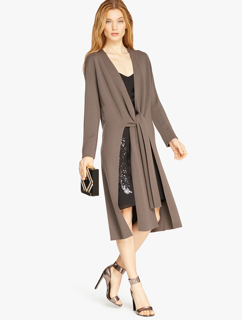 Halston Merino Wool Duster Cardigan in Gray | Lyst