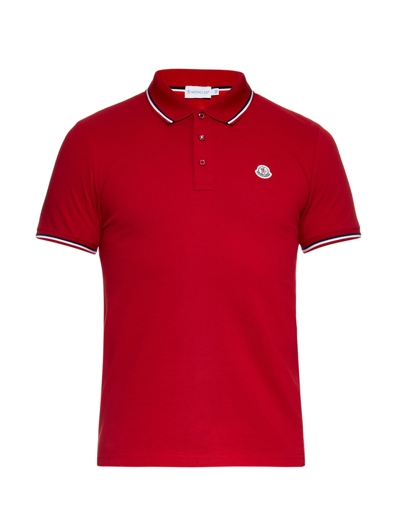Lyst Moncler Striped Trim Cotton Polo Shirt In Red For Men