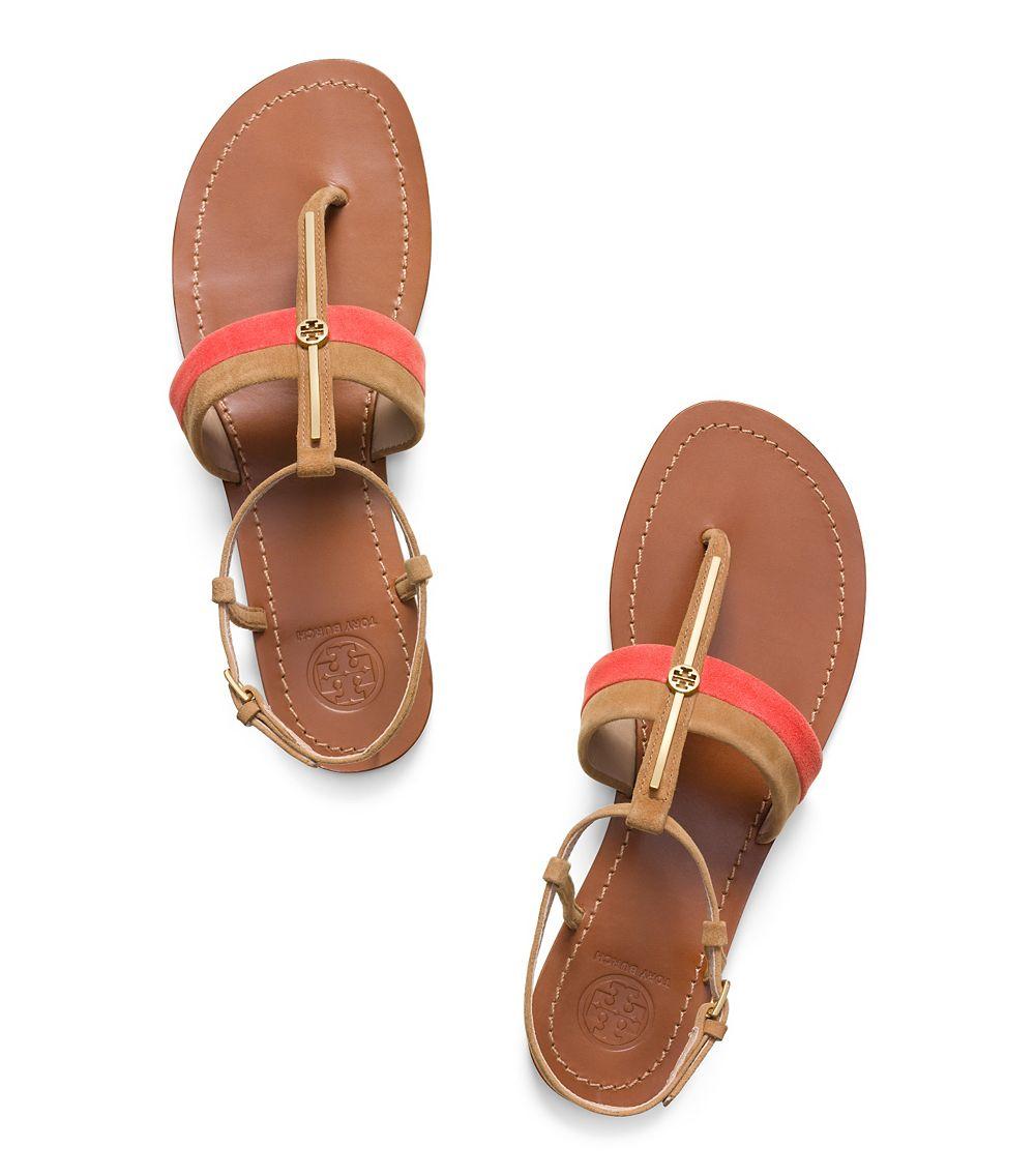 9249470a073ce3 Tory Burch Bar Logo Flat Sandal in Red - Lyst