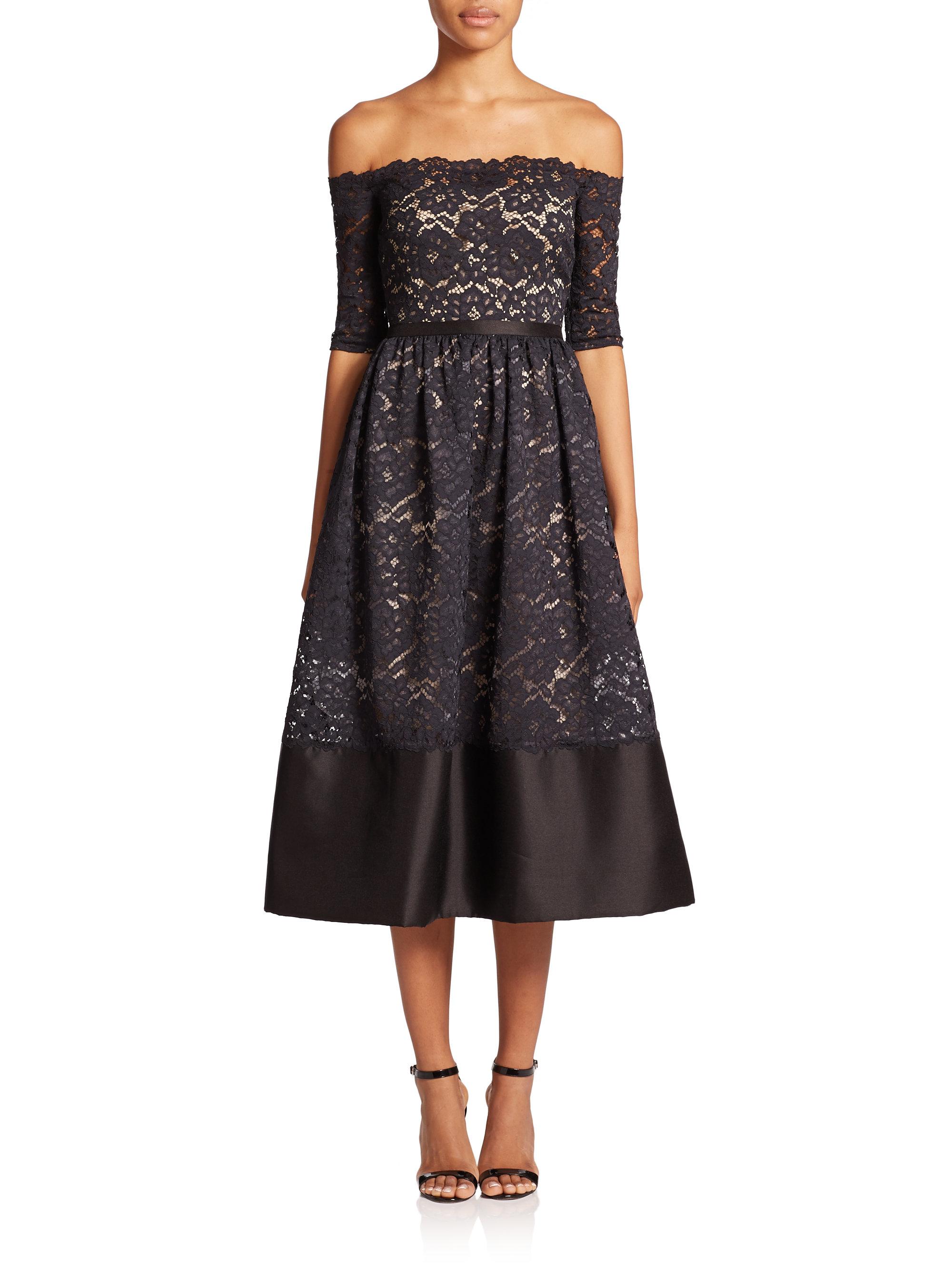 Off the shoulder midi lace dress
