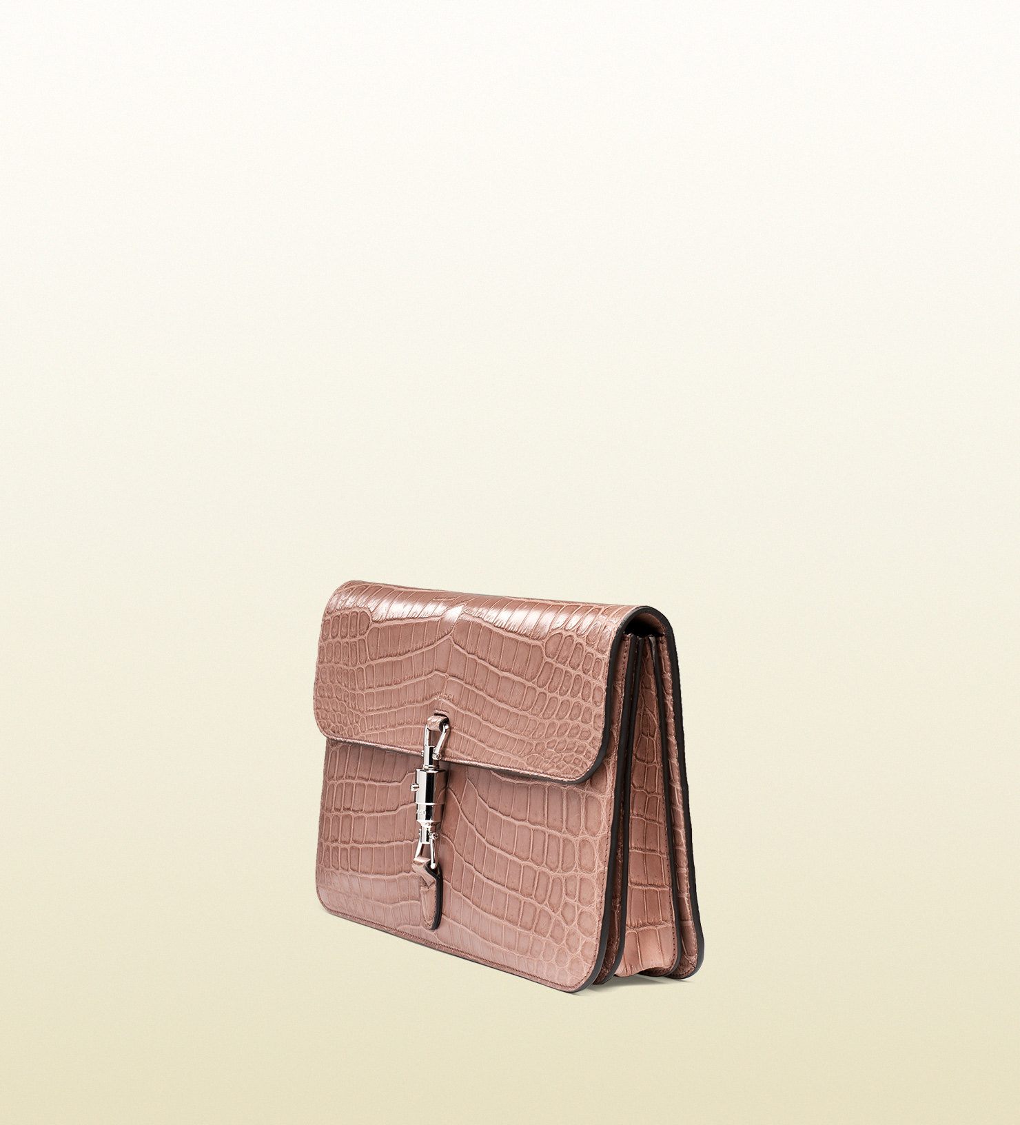 76c1f50bfbe Lyst - Gucci Jackie Soft Crocodile Clutch in Pink