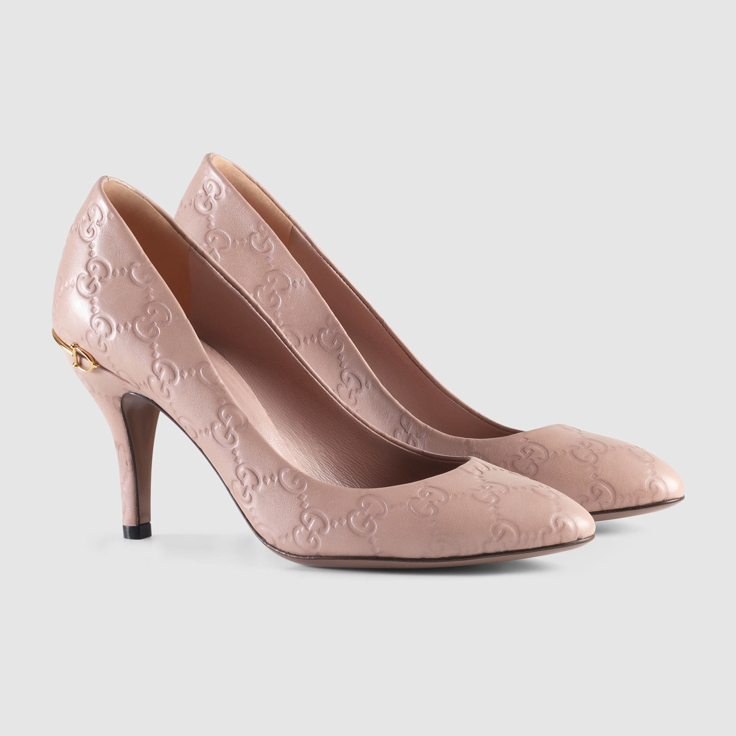 Gucci Guccissima Mid-heel Pump in Pink | Lyst