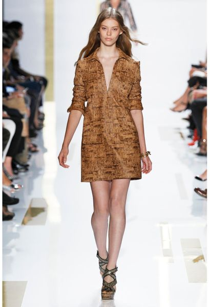 Dvf Dresses Dilly Ceramic Tunic Dress Cork Leather Tunic Dress