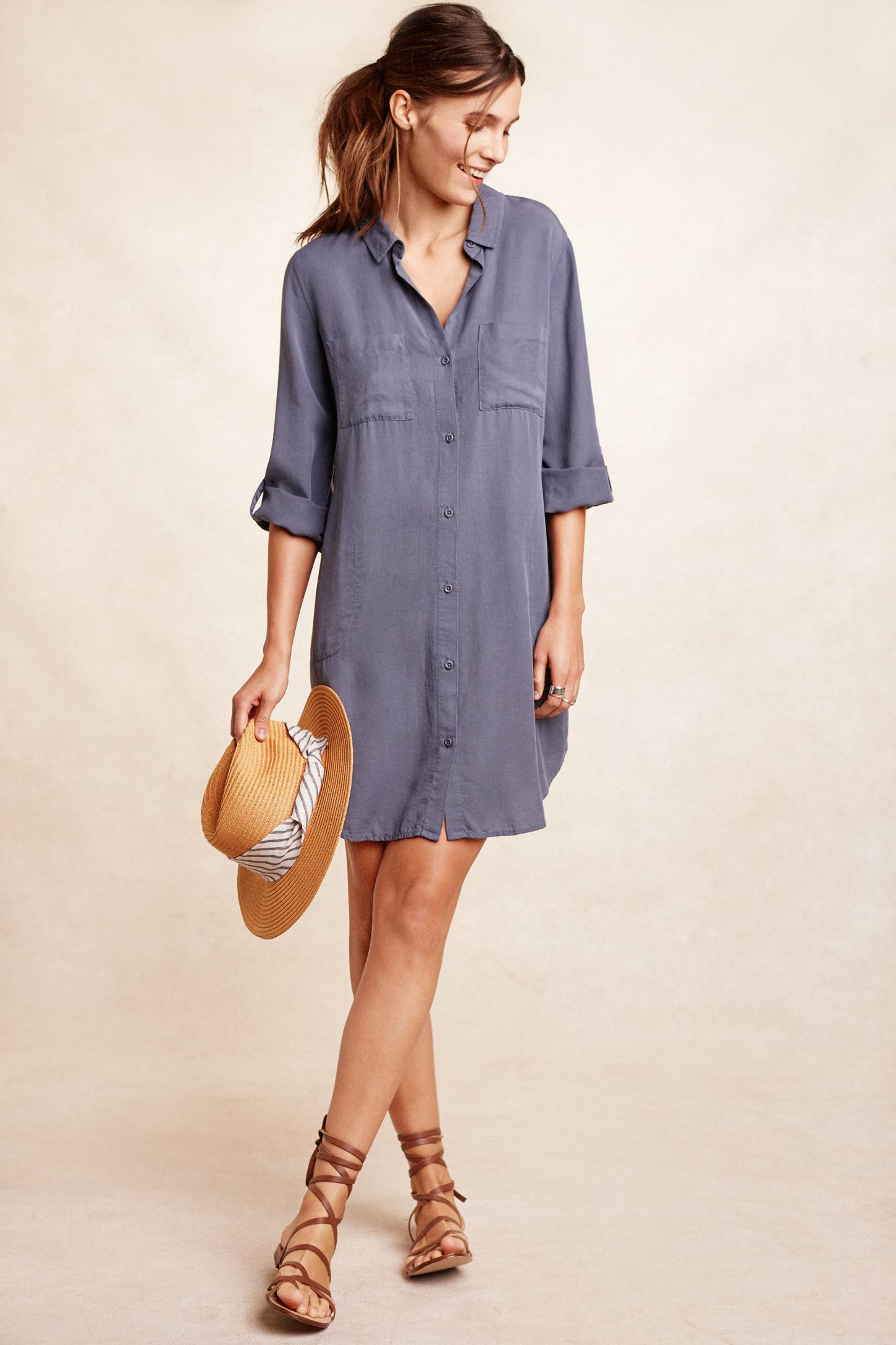 Cloth Amp Stone Utility Shirtdress In Blue Lyst