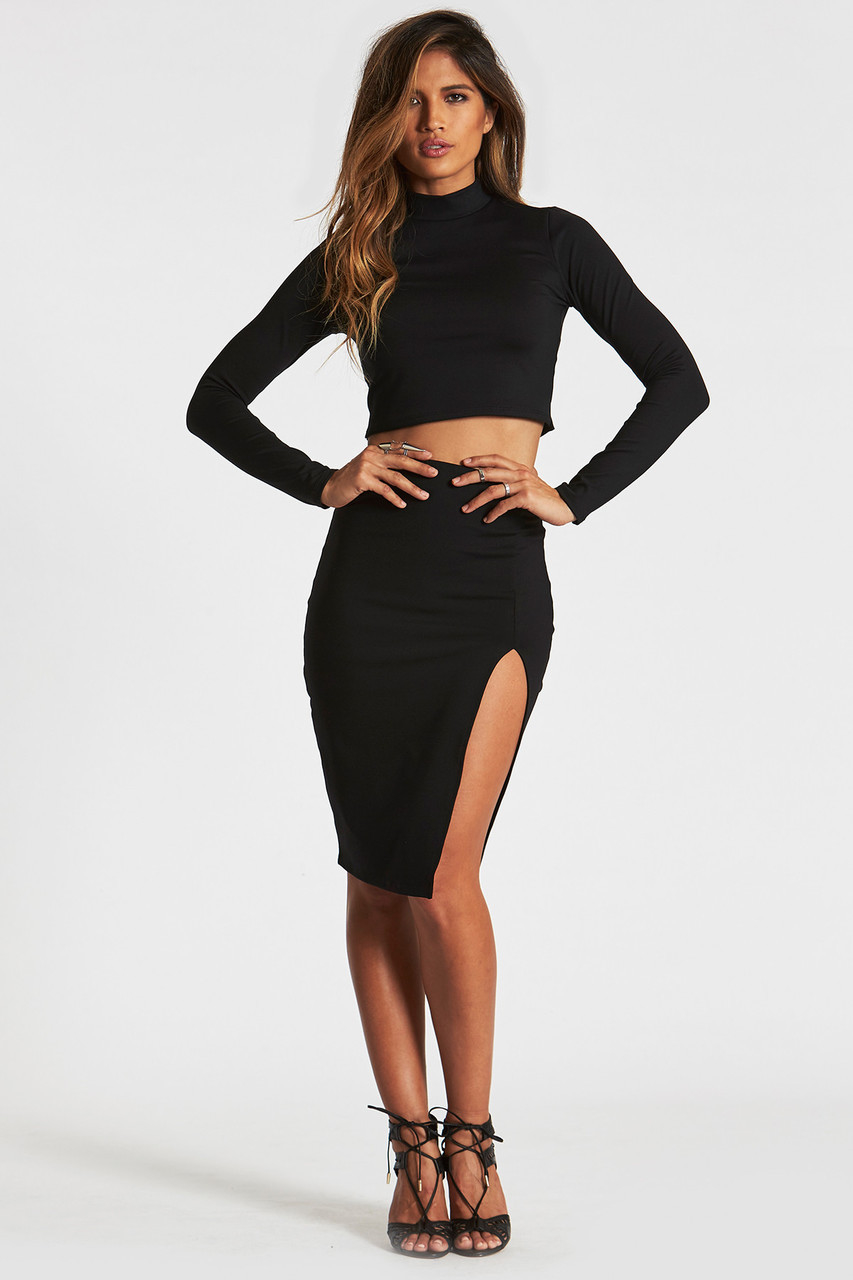 high slit black skirt lyst donna mizani midi slit skirt in black 6987