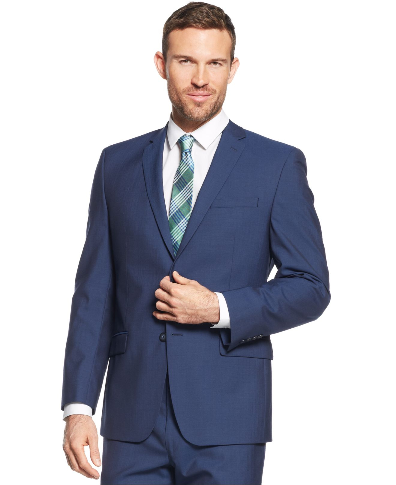 Andrew marc Marc New York By Navy Sharkskin Solid Classic-fit Suit