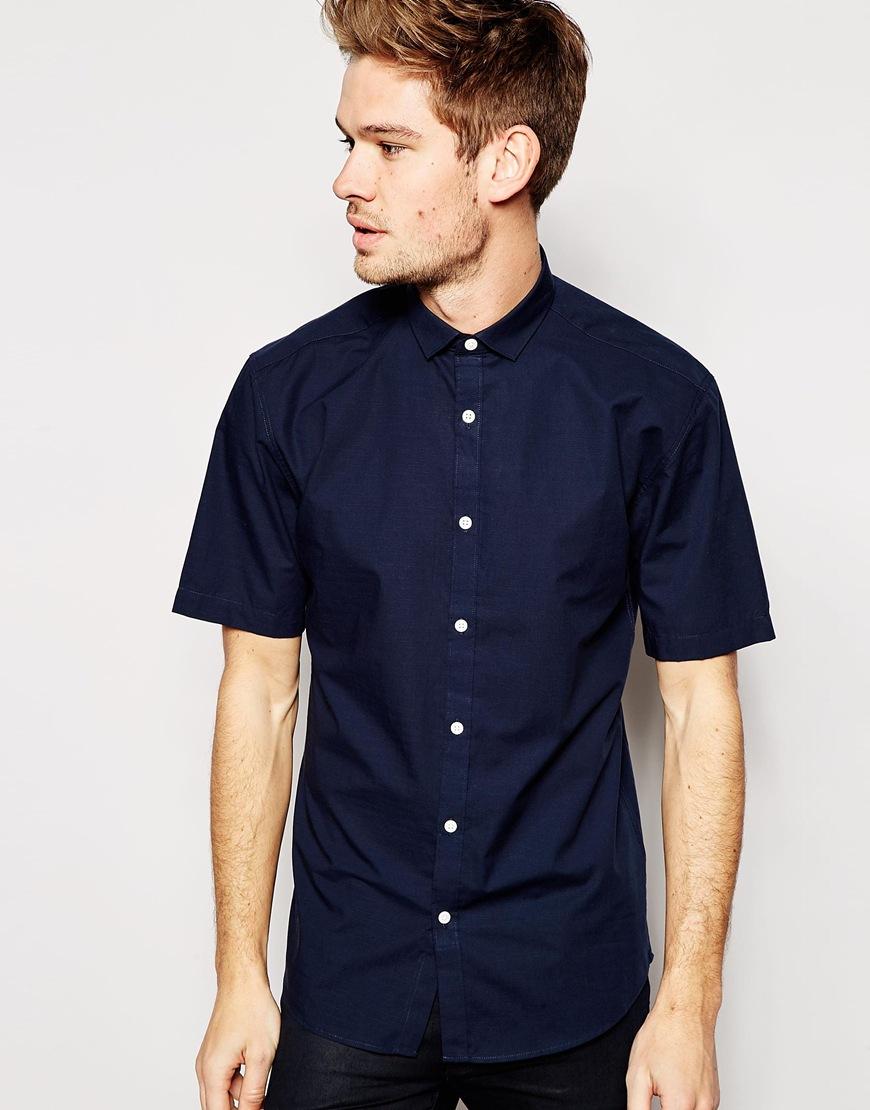 5fb34ec9b79 Lyst - SELECTED Selected Short Sleeve Formal Shirt In Slim Fit in ...
