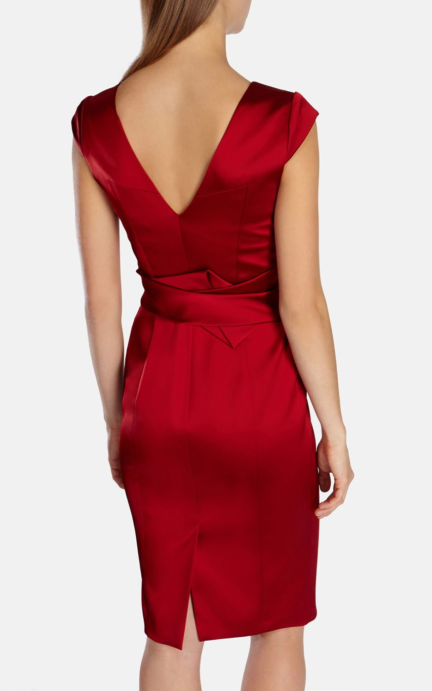 Karen millen red signature satin dress in red lyst