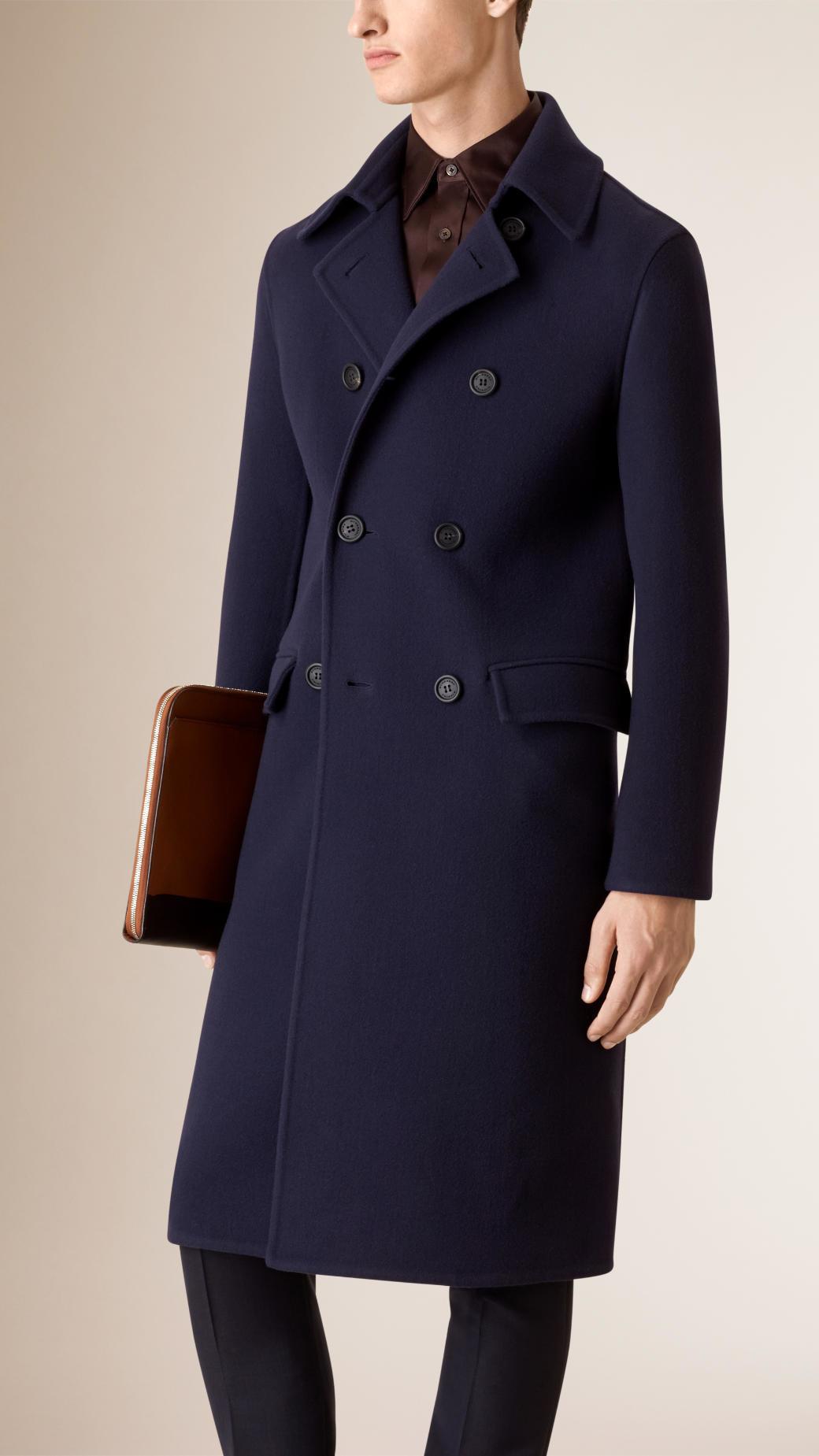 Burberry Unlined Wool Overcoat in Blue for Men | Lyst