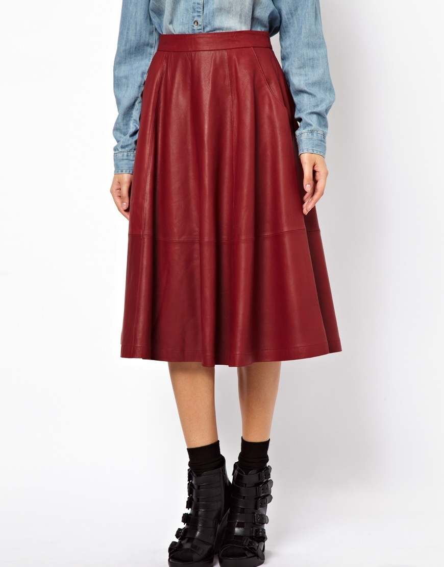 asos midi skirt in leather with pockets in lyst