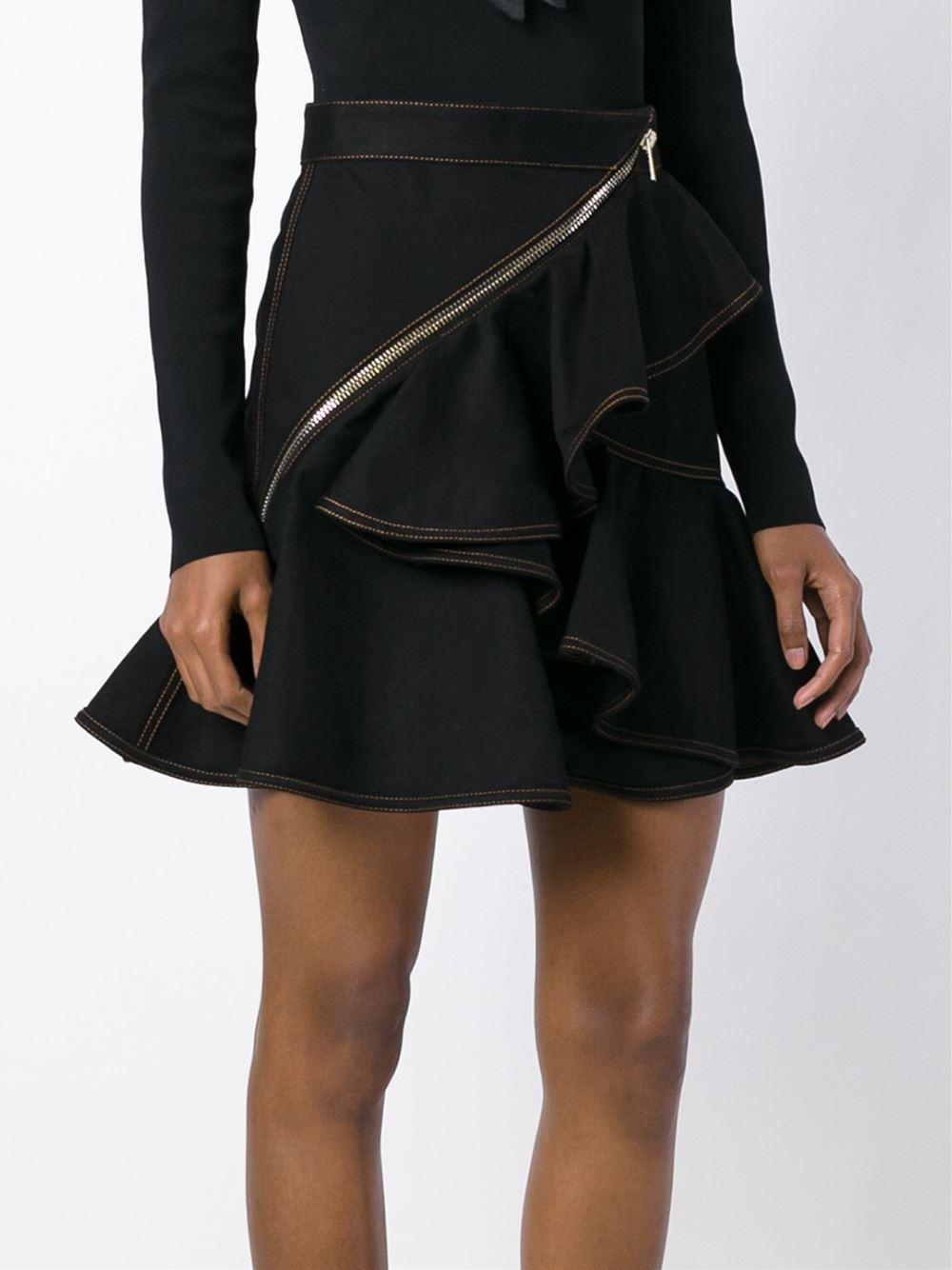 givenchy ruffled denim skirt in black lyst
