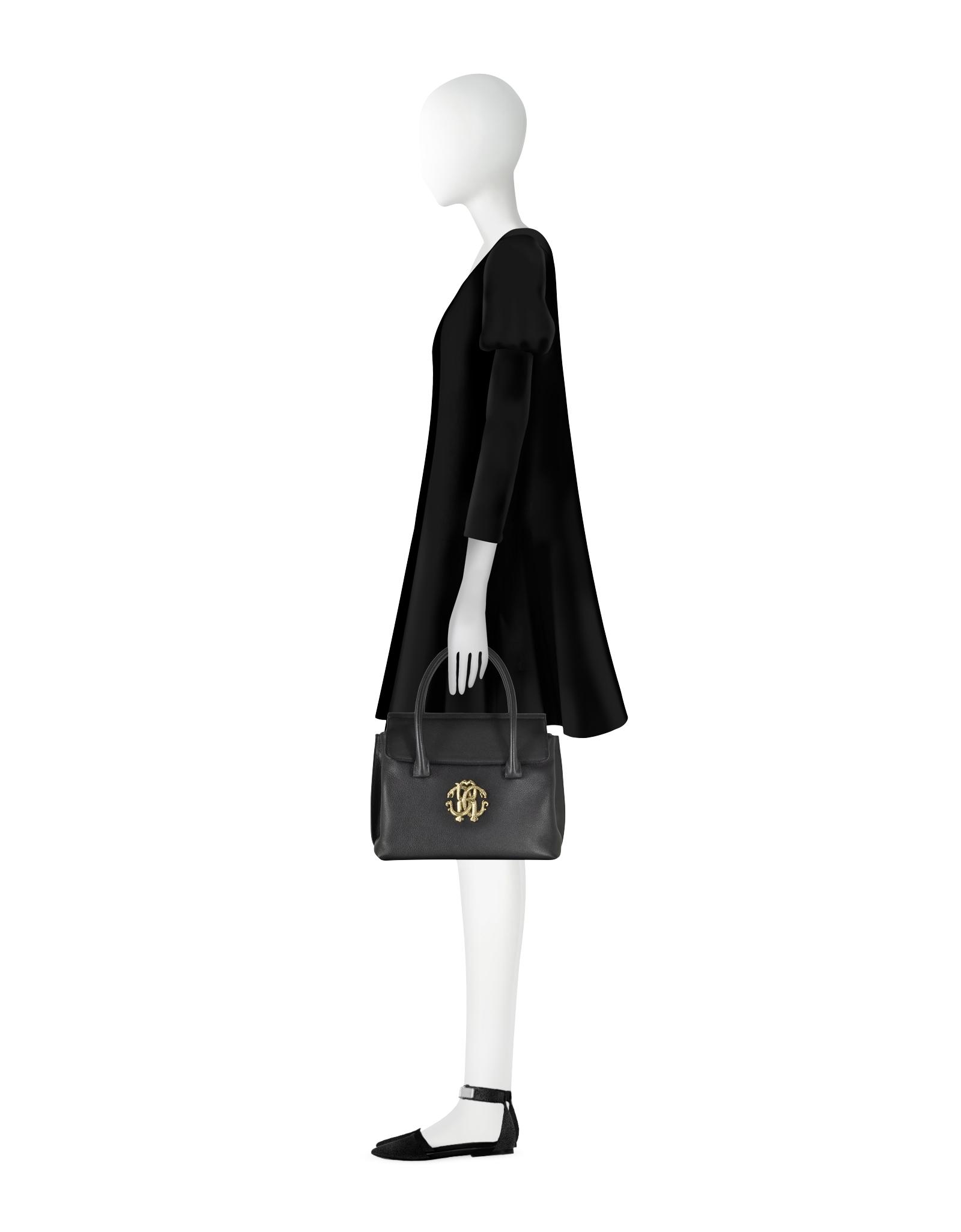 3ee15acc096d Roberto Cavalli Black Small Tote W rc Golden Logo in Black - Lyst