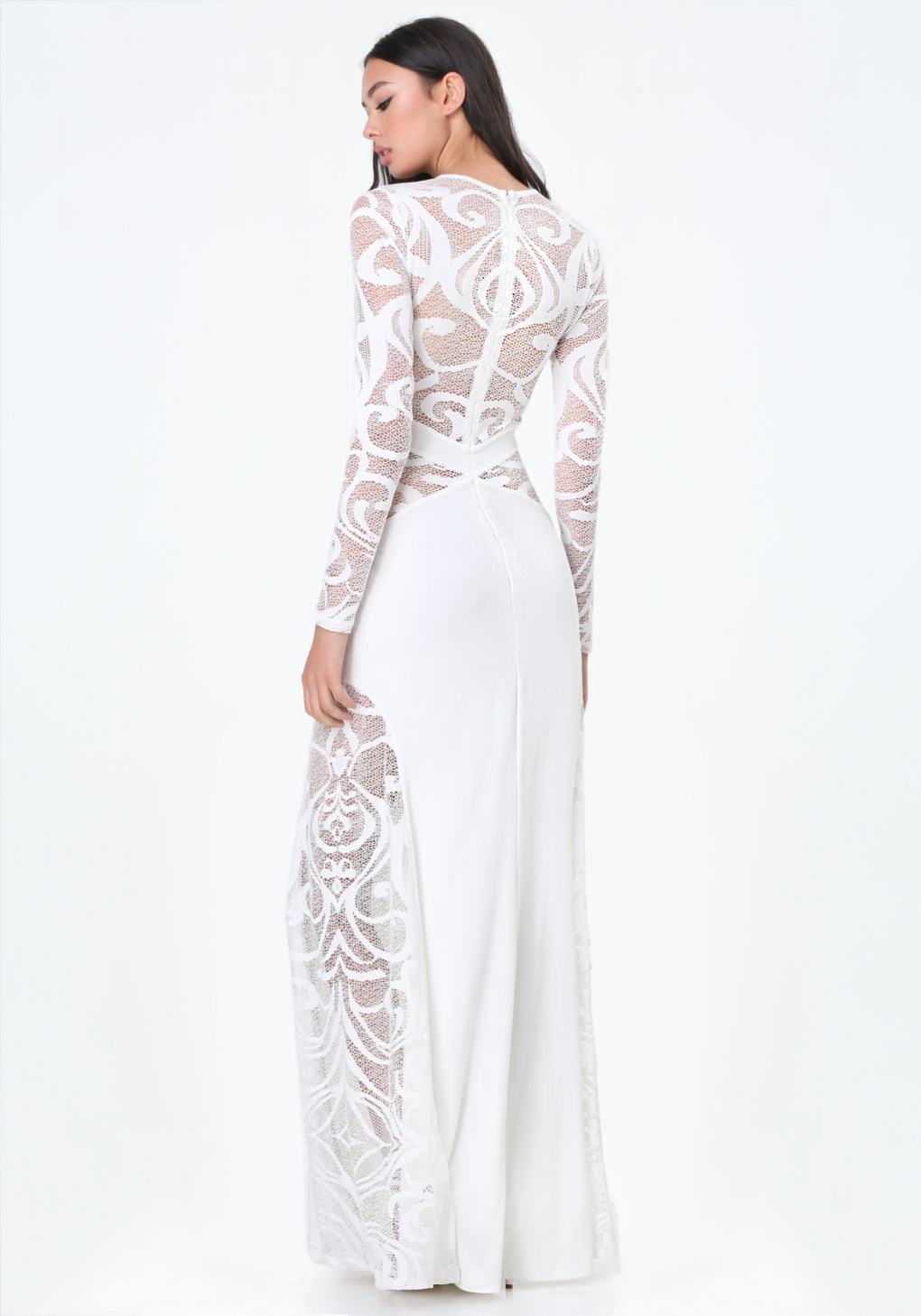 Lyst - Bebe Petite Lace Gown in White