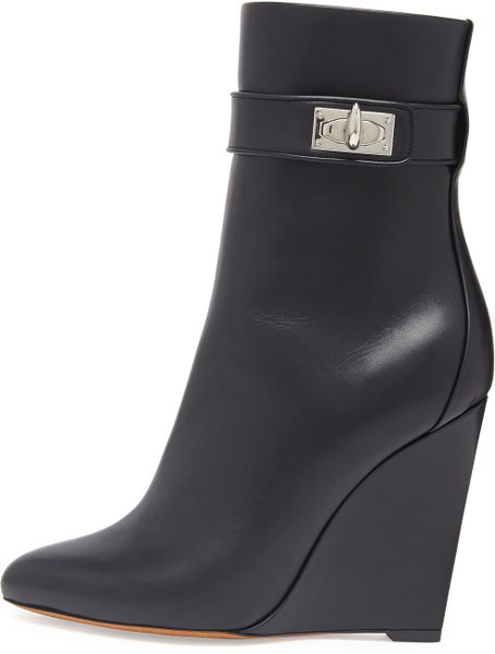 givenchy shark lock wedge ankle boot in black lyst