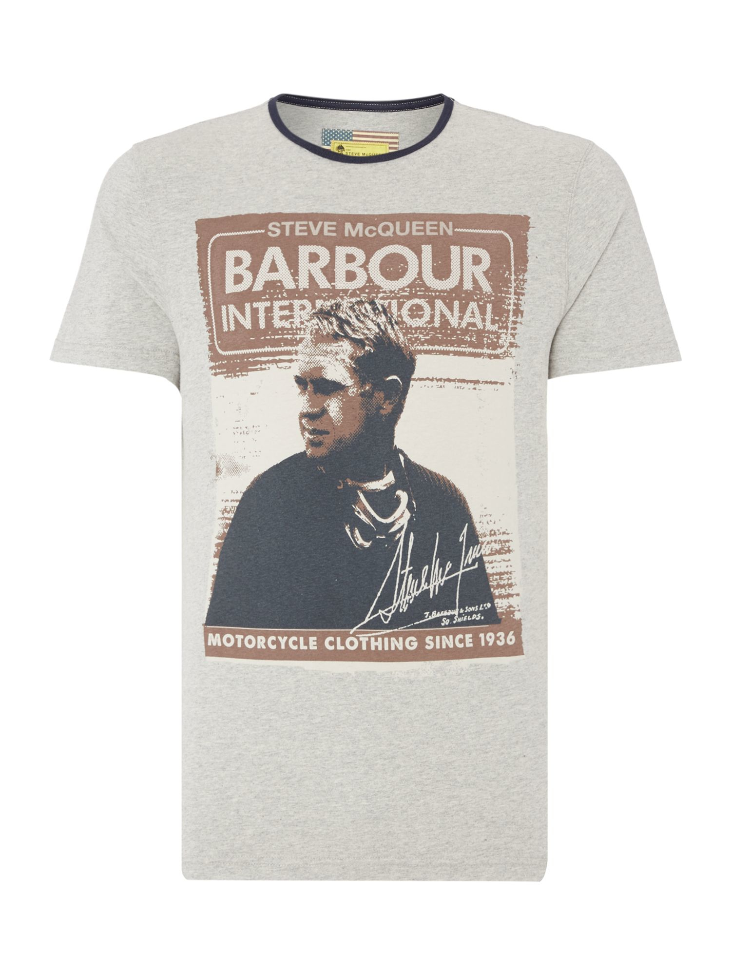 barbour steve mcqueen short sleeved fowler t shirt in gray for men lyst. Black Bedroom Furniture Sets. Home Design Ideas