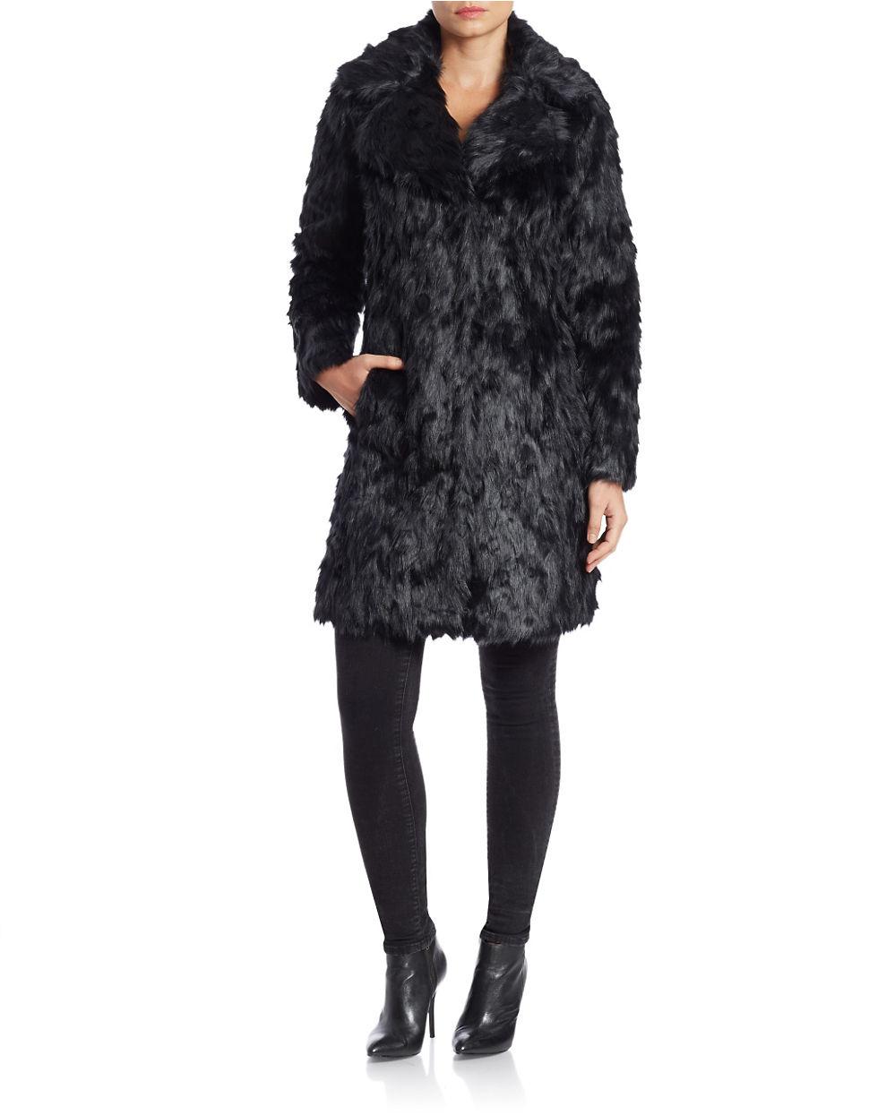 Eliza J Faux Fur Wing Collar Coat In Black Lyst
