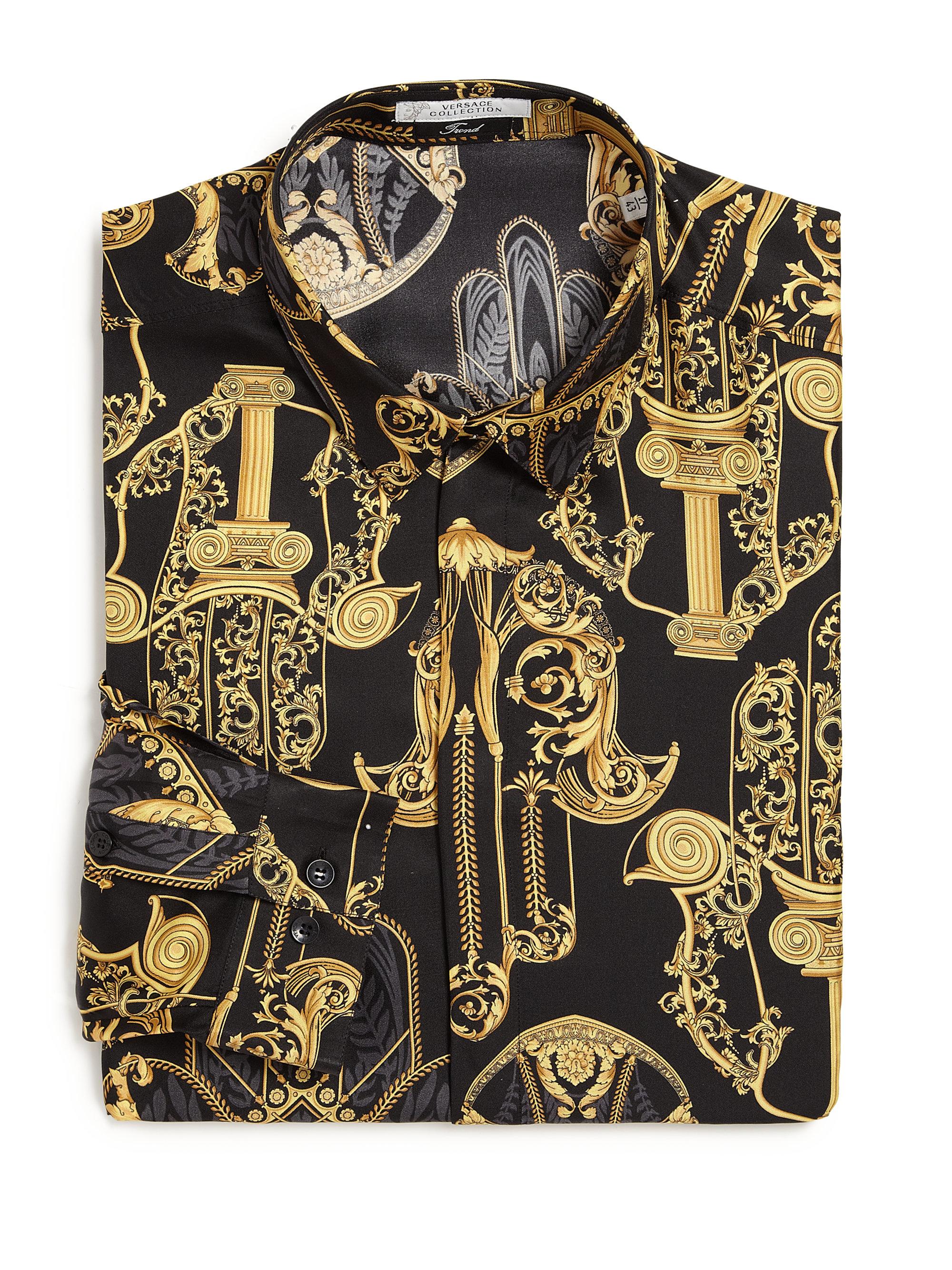 b3a696dae566c9 Lyst - Versace Baroque Print Silk Shirt in Metallic for Men
